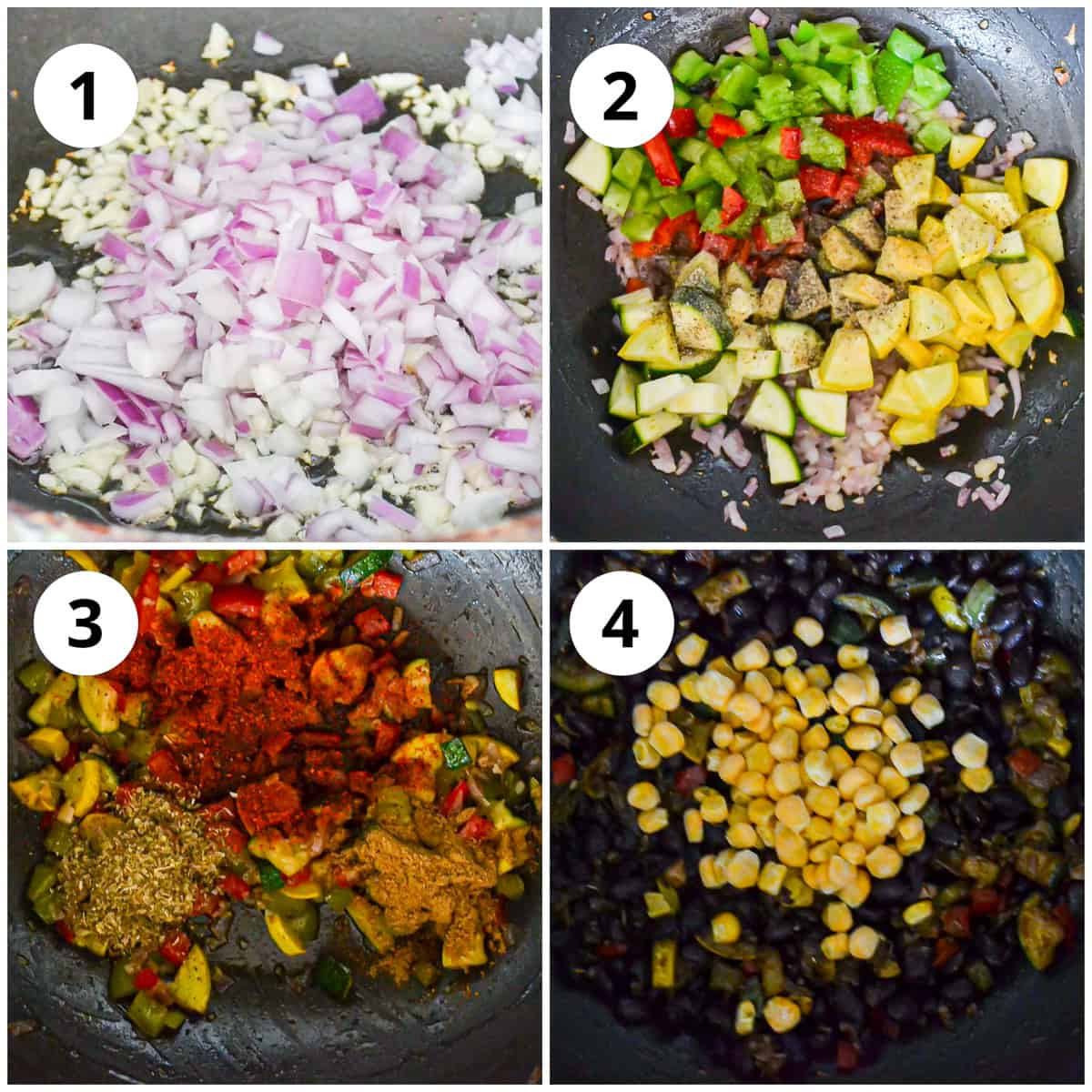 Four photos showing how to make the black bean and vegetable filling