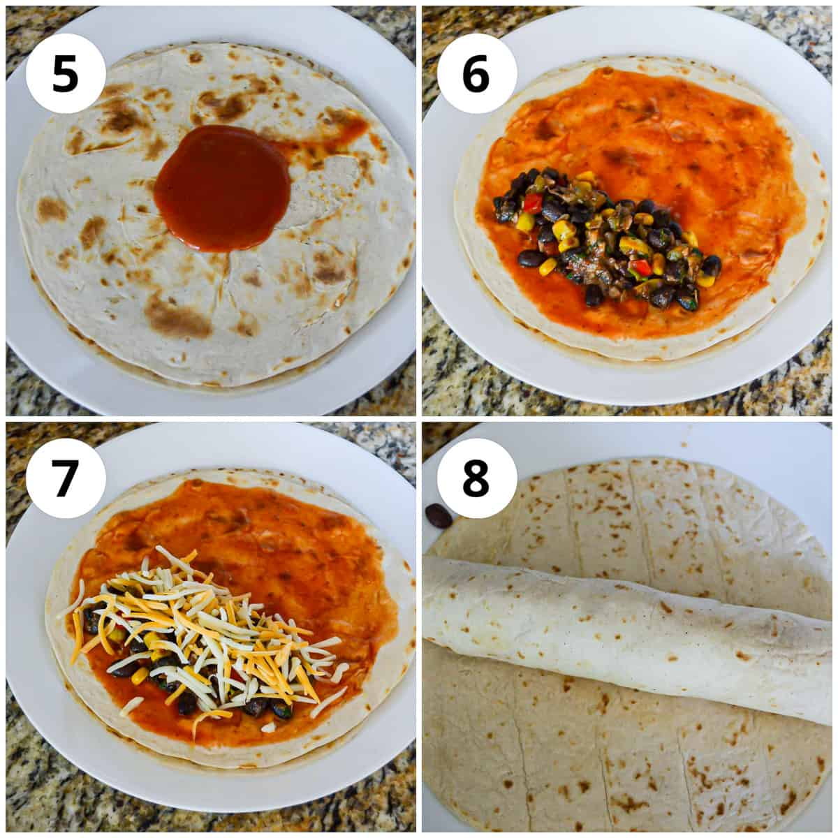 Four photos to show how to fill and roll the tortillas