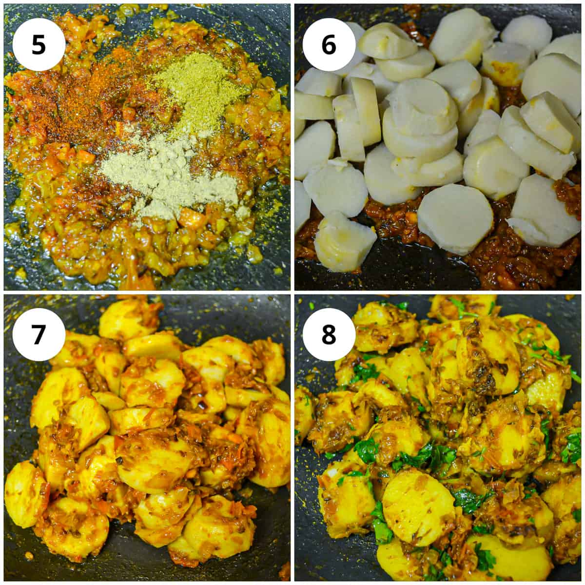step by step photos to show how to make the arbi ki sabzi