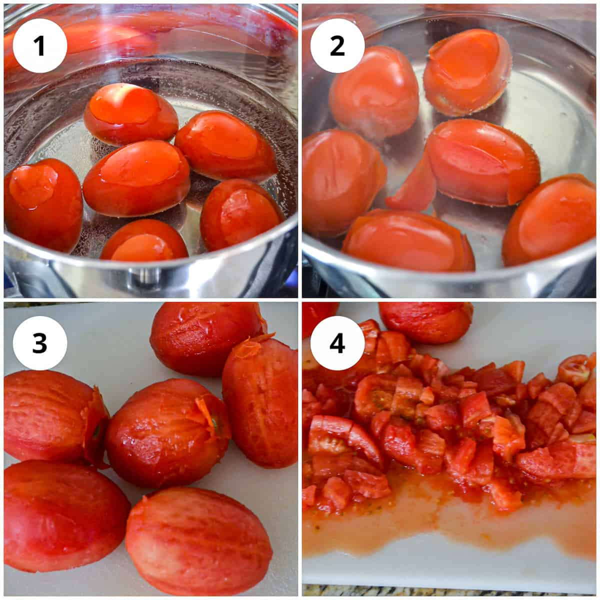 Boiling and dicing the tomatoes