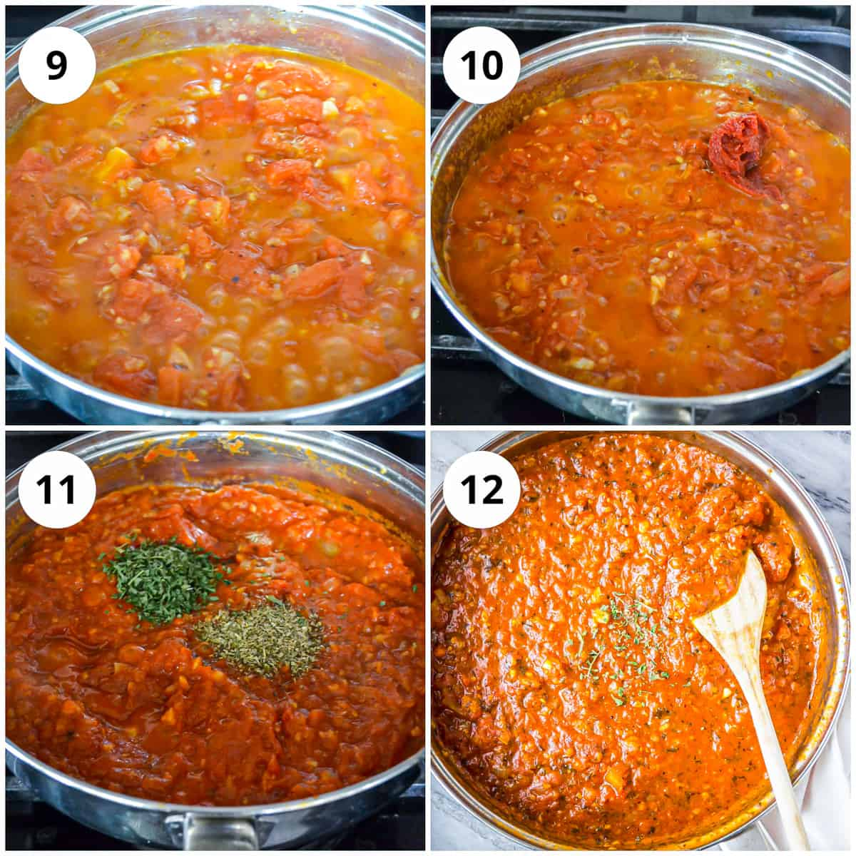 Four photos to show cooking and thickening the sauce