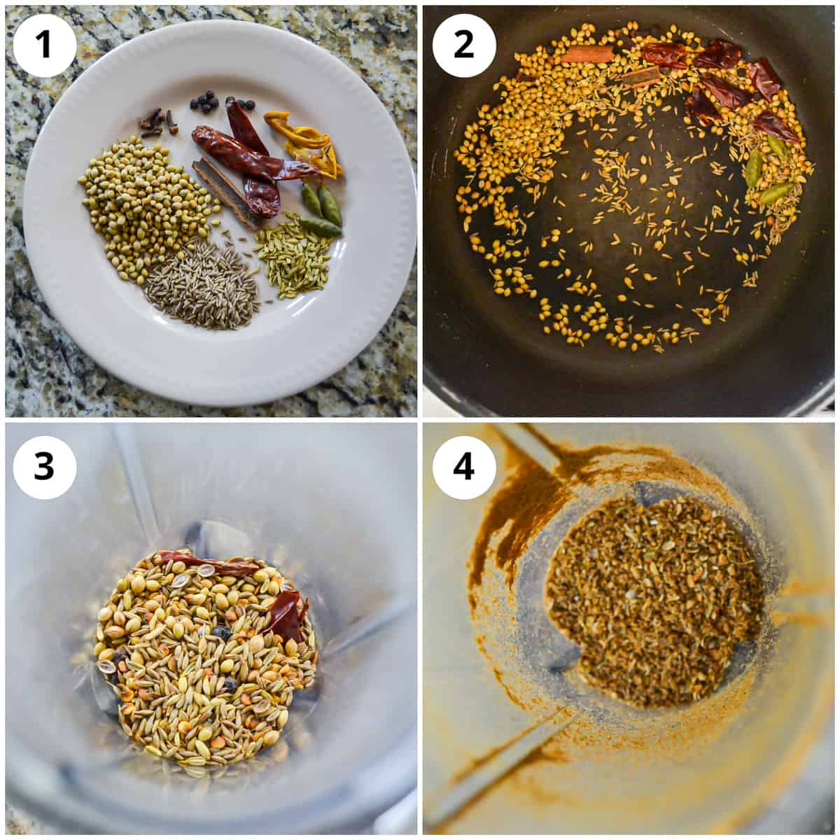 Toasting and grinding the ground spices