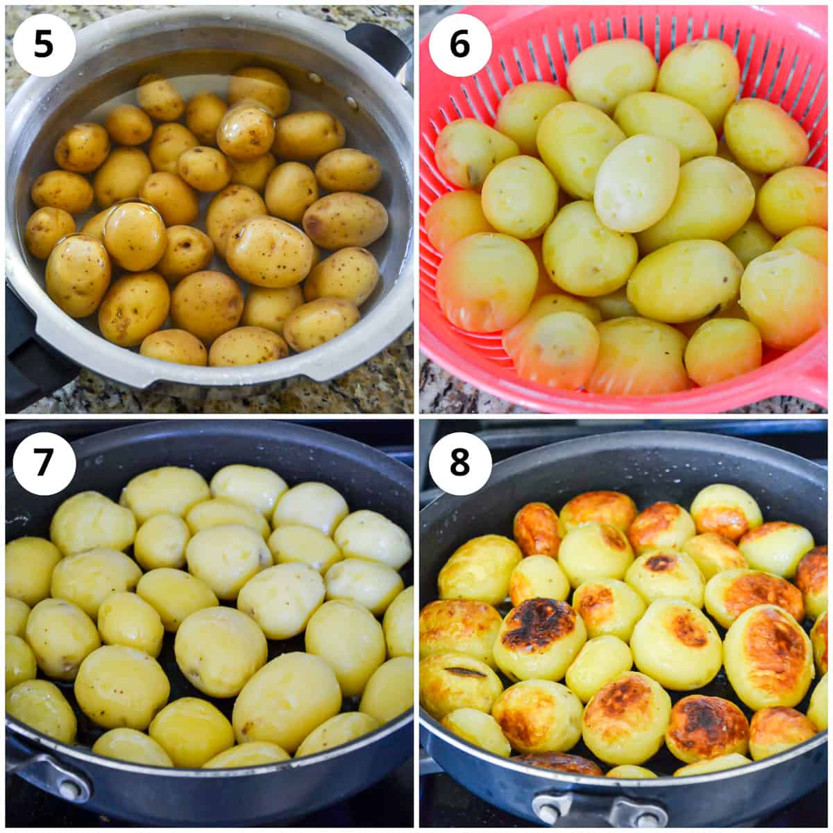 Showing how to cook and fry the potatoes for the recipe
