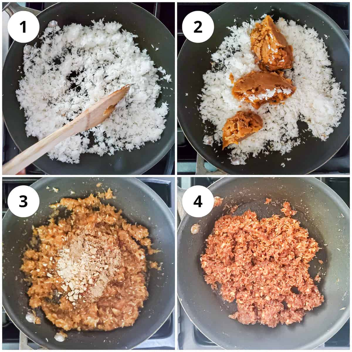 Steps for roasting the coconut, mixing jaggery, cardamom, cashews to make the filling