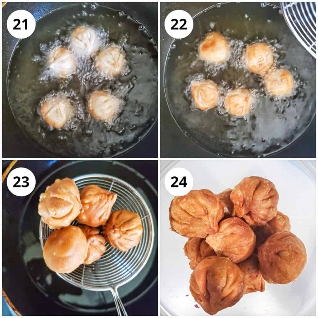 Deep frying the modak until golden brown, drain and then store after cooling.