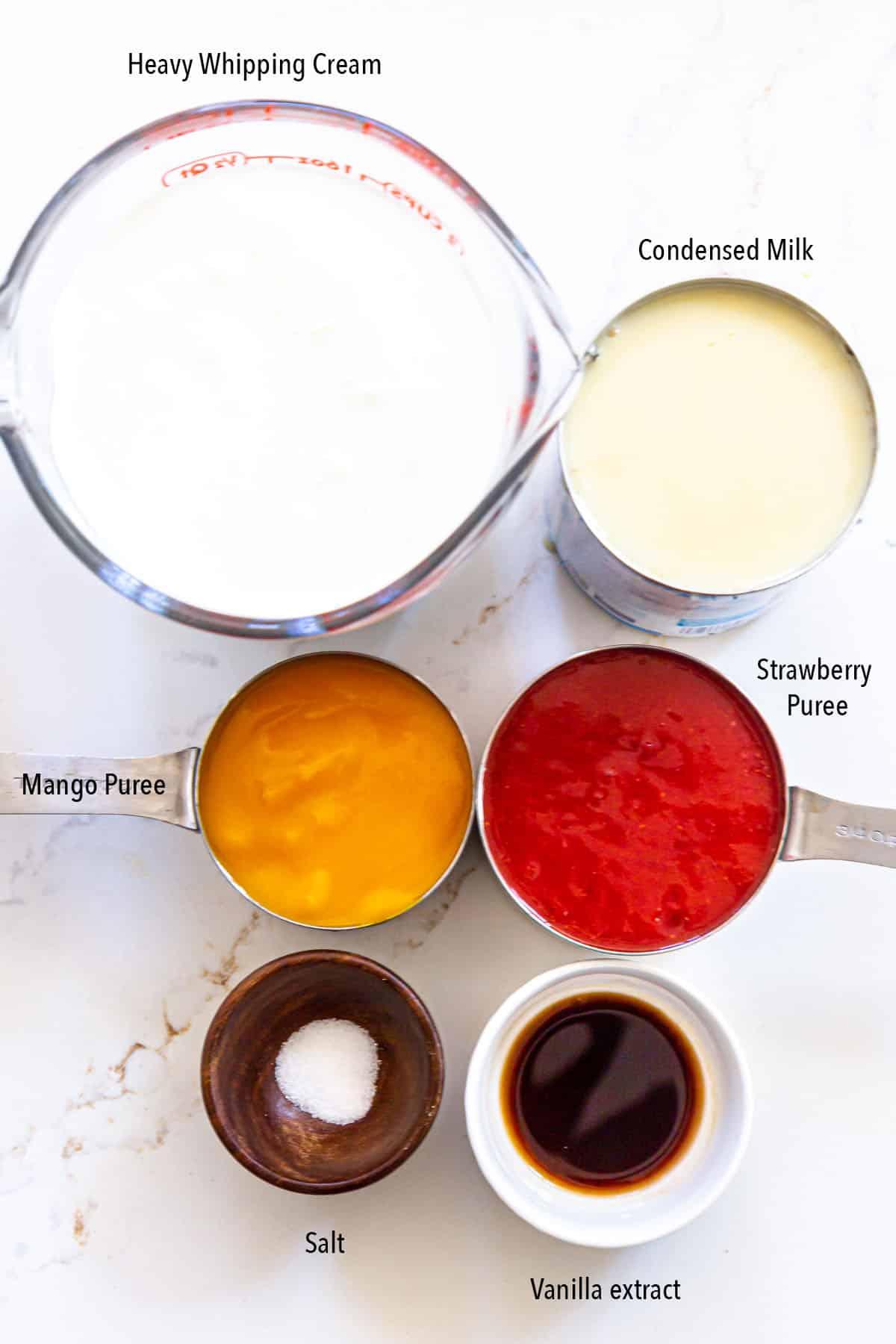 Ingredients to make strawberry mango swirl icecream