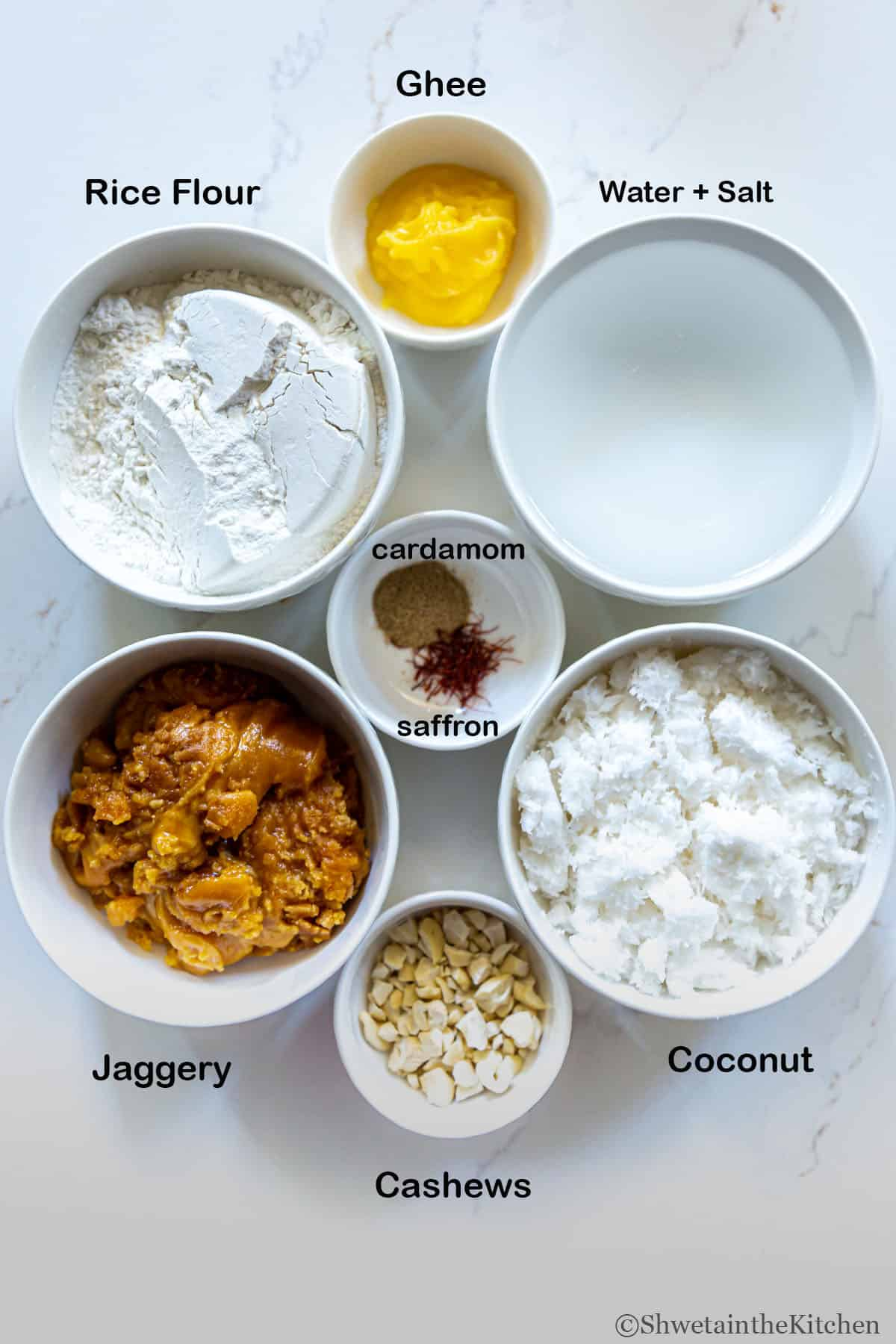 Top view of Ingredients for modak arranged in bowls