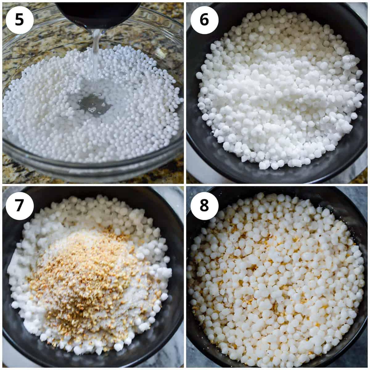 Soaking sabudana and then adding crushed peanuts, salt and sugar to it.