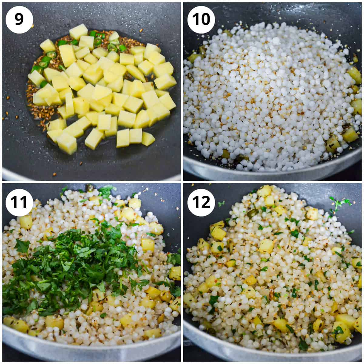 Four photos to show how to cook and make the dish to serve