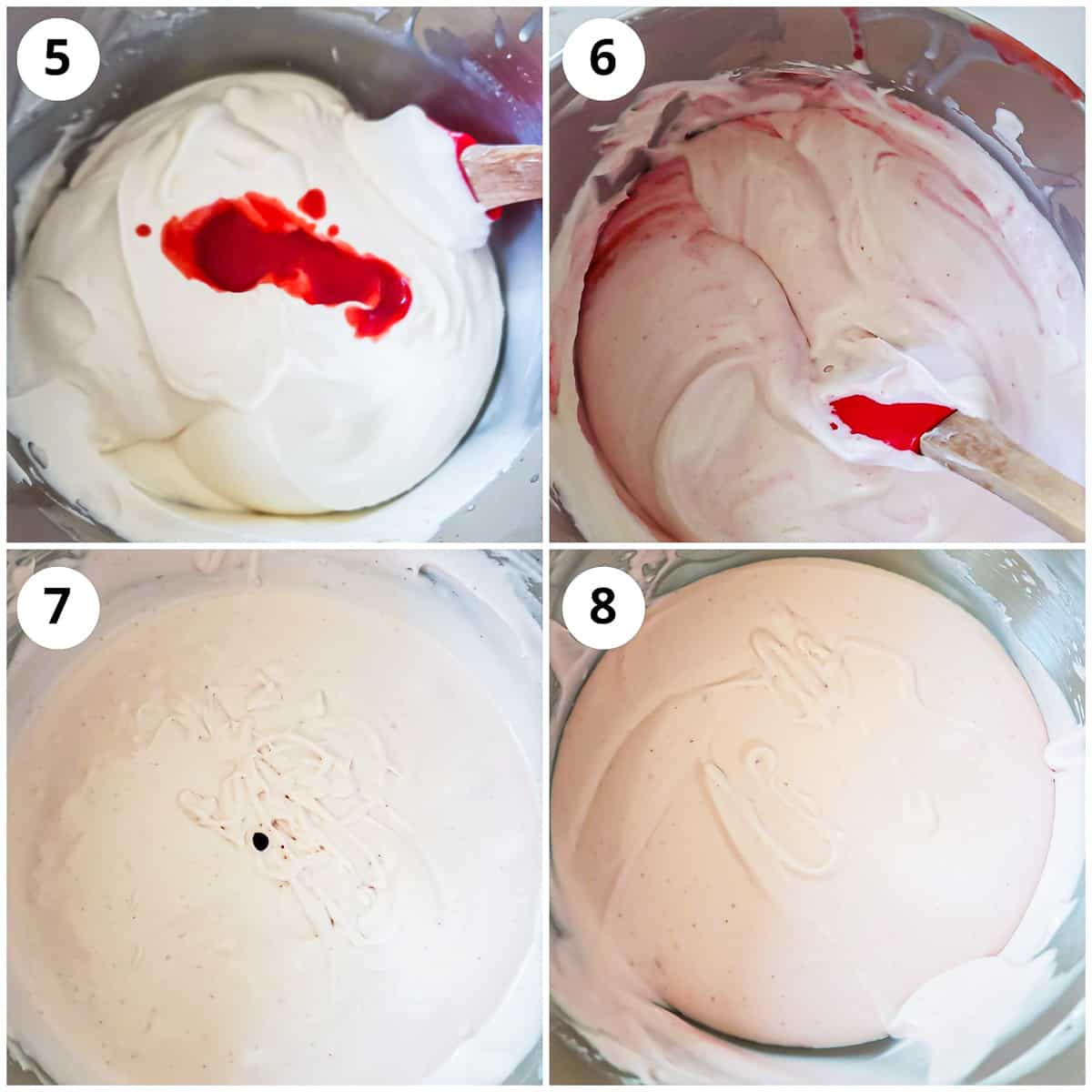 Adding the strawberry puree to vanilla icecream base to make strawberry icecream