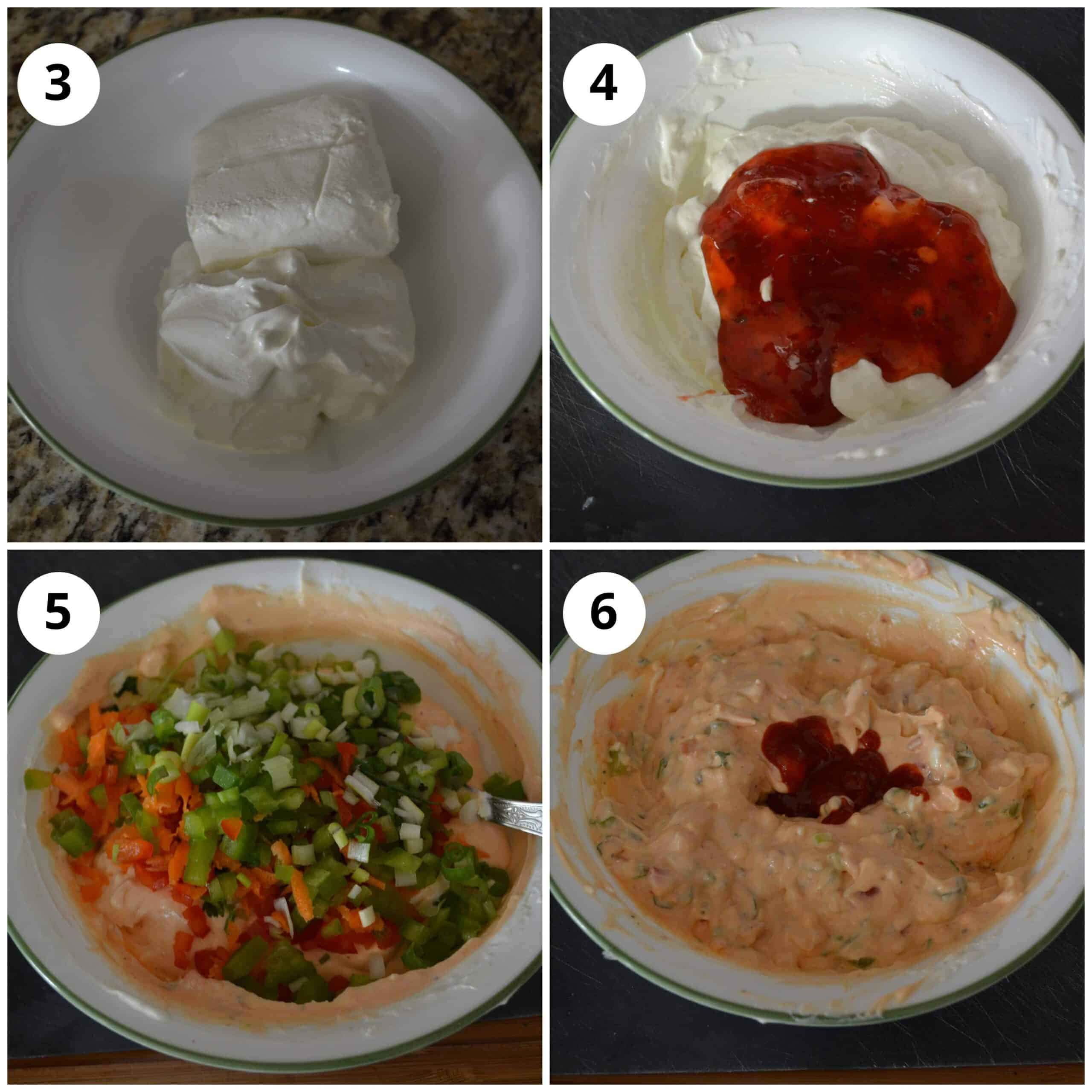 Step by step photos to show how to make the dip