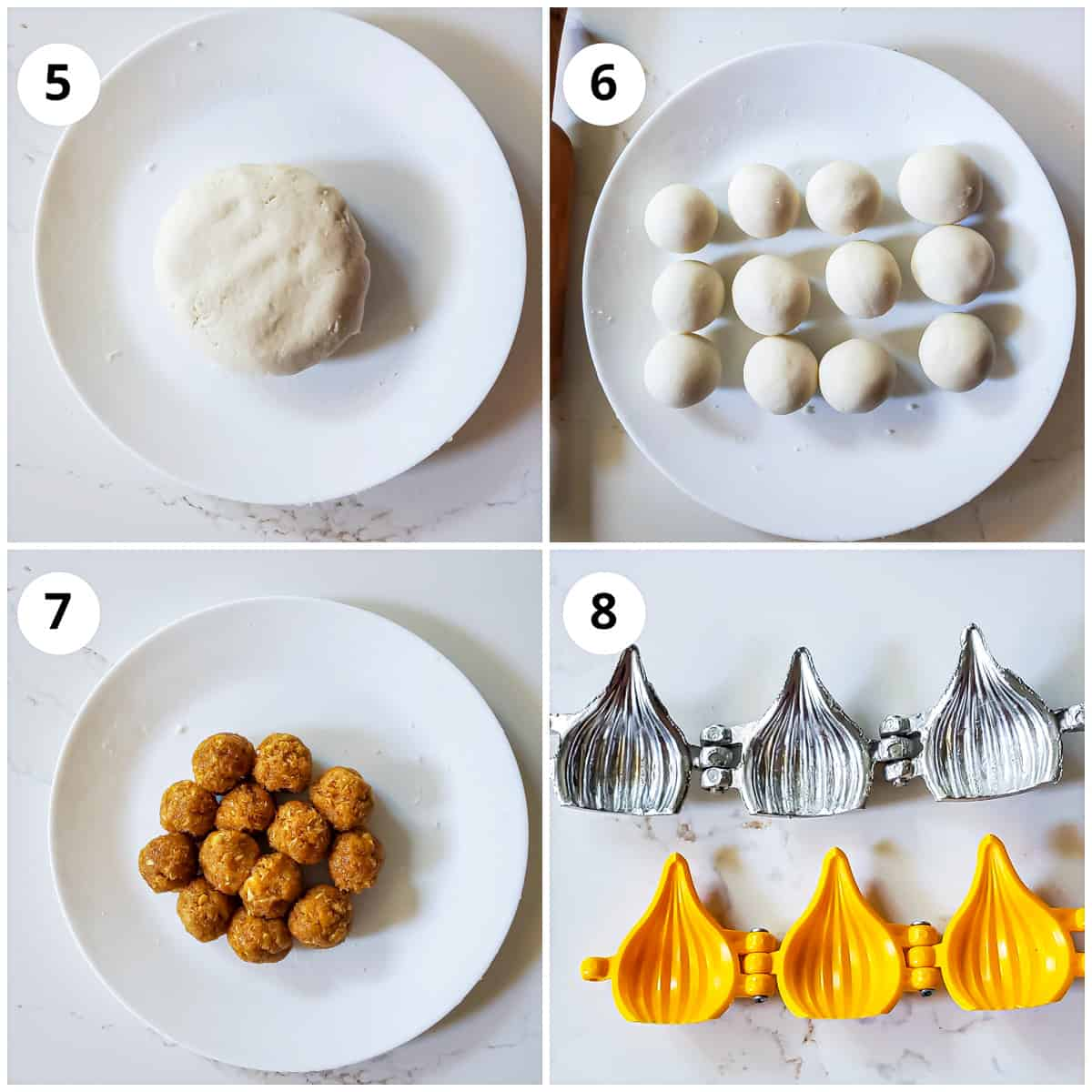 Pics of rice flour dough and filling divided into balls along with molds