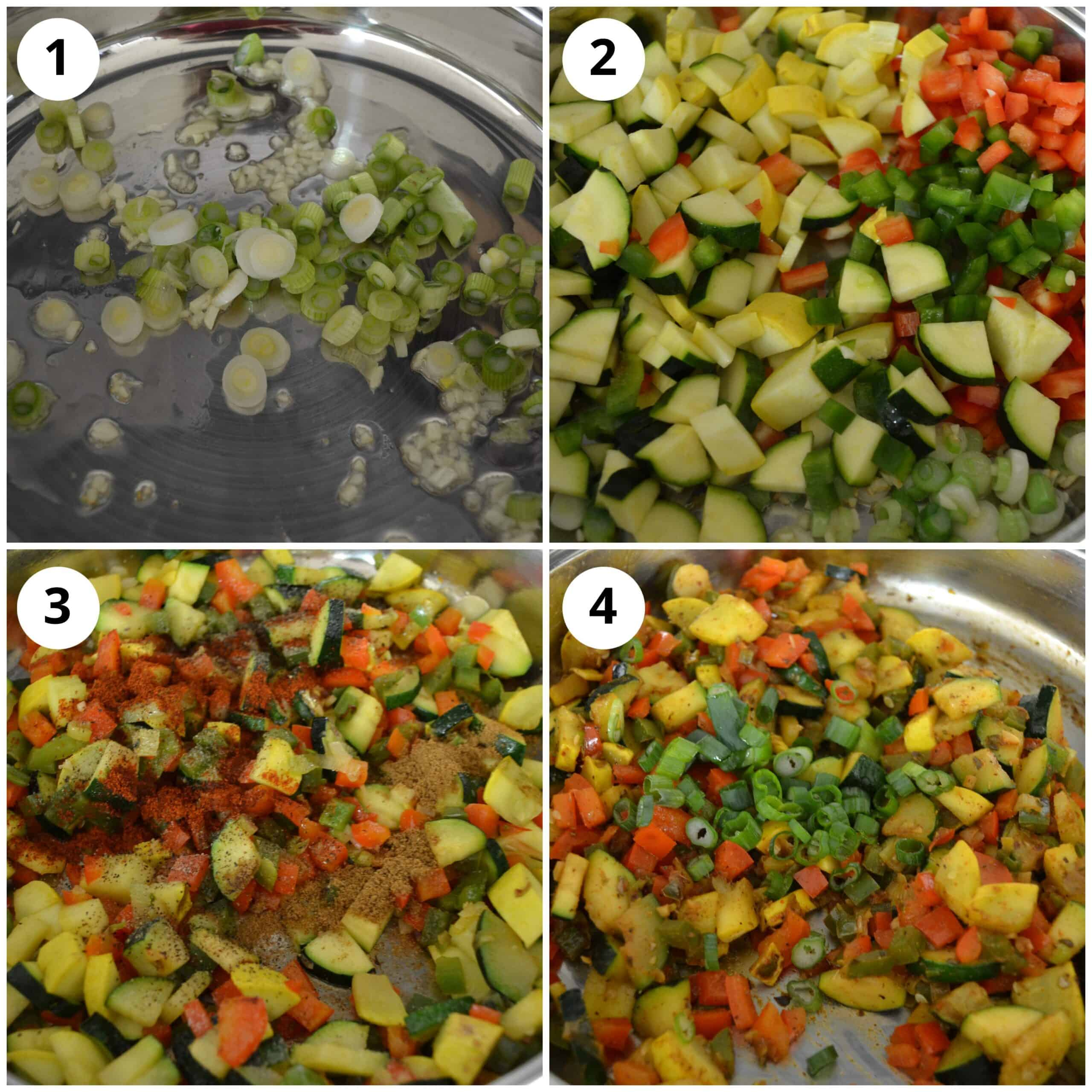 Cooking the vegetable filling in a pan