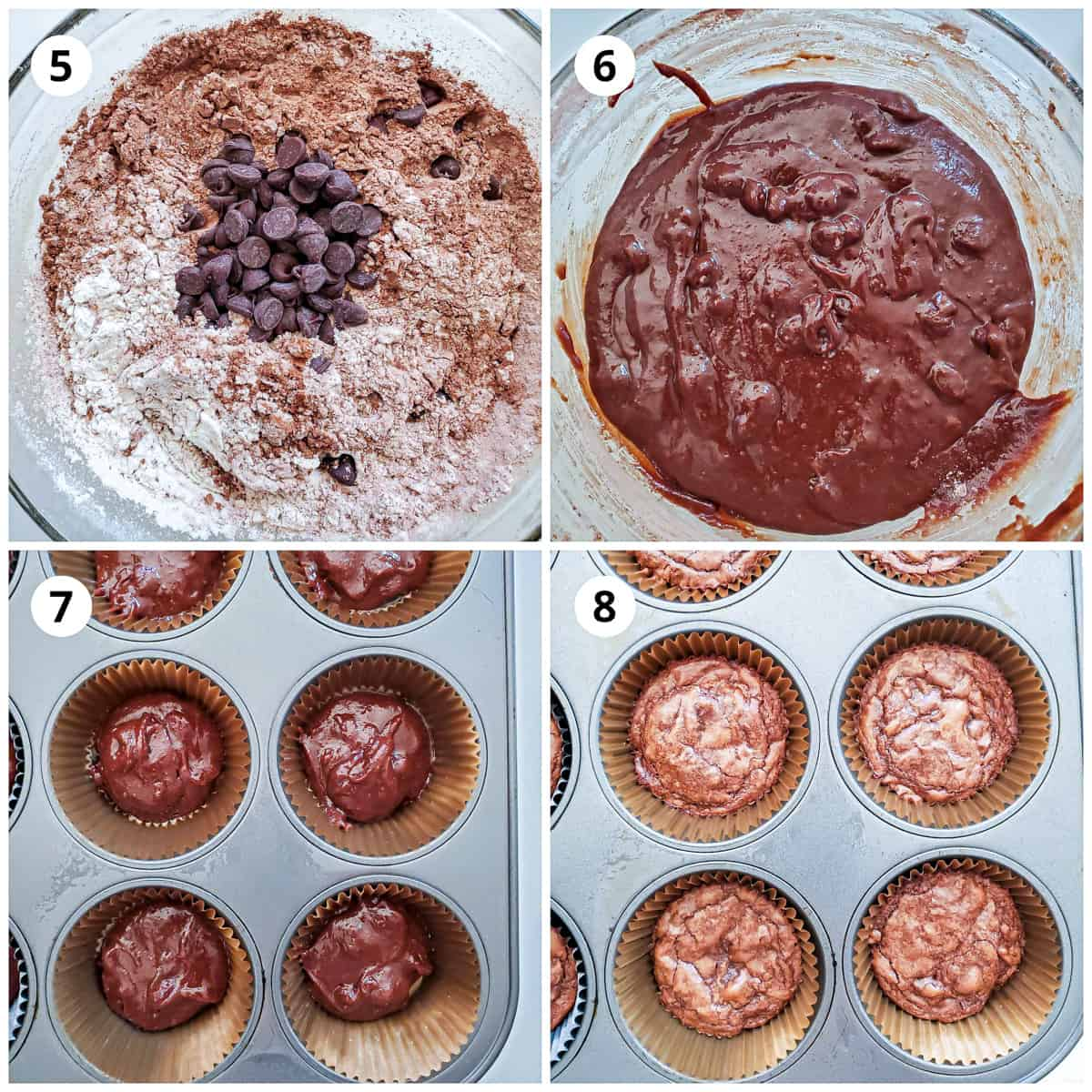 Making the brownie batter and baking them in muffin pan