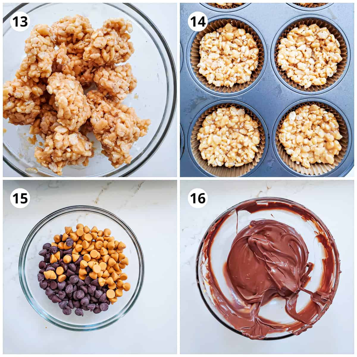 pressing rice krispies mix on top of the brownies in muffin pan and melting chocolate.