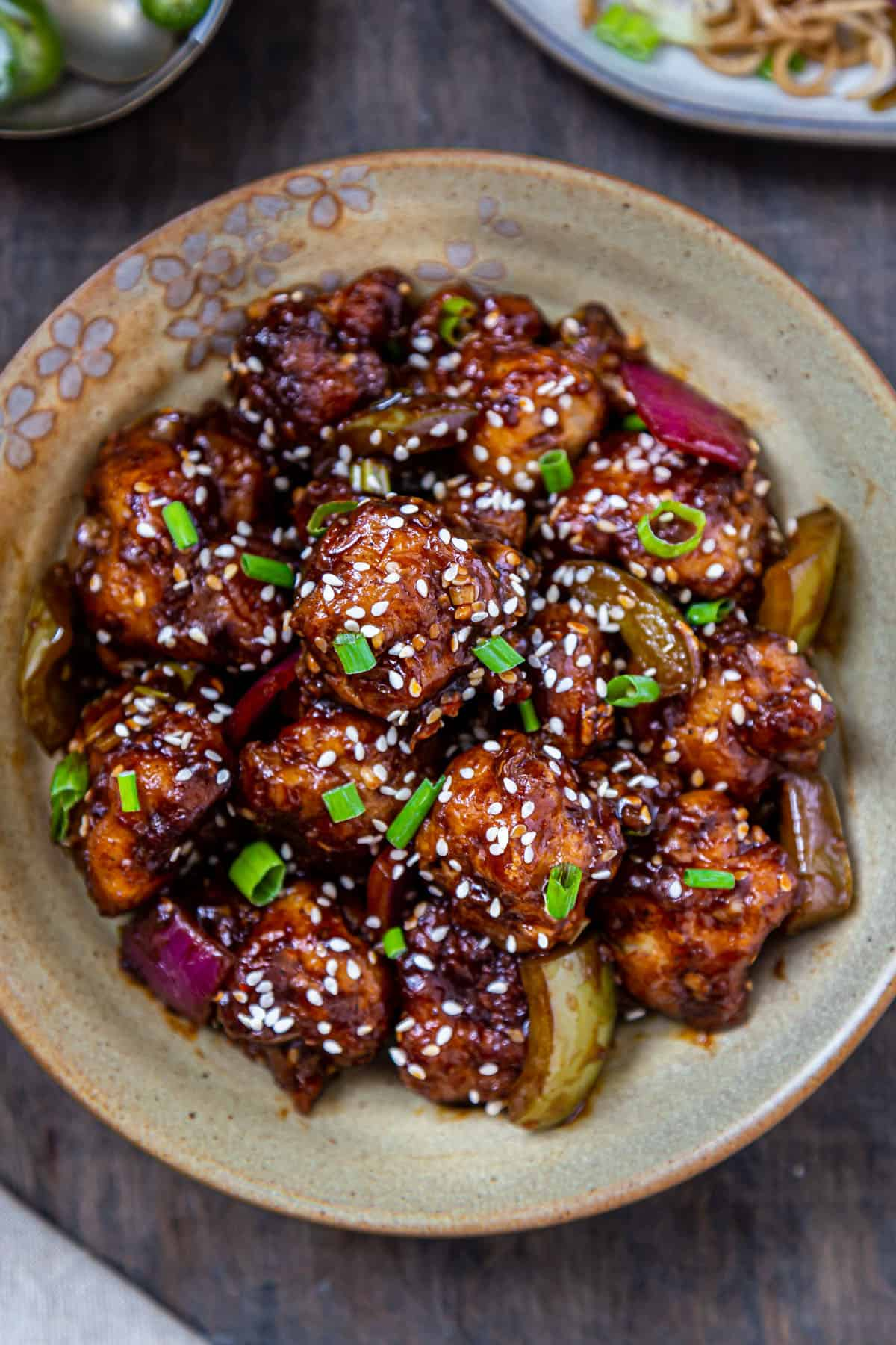 Plate stacked with gobi manchurian