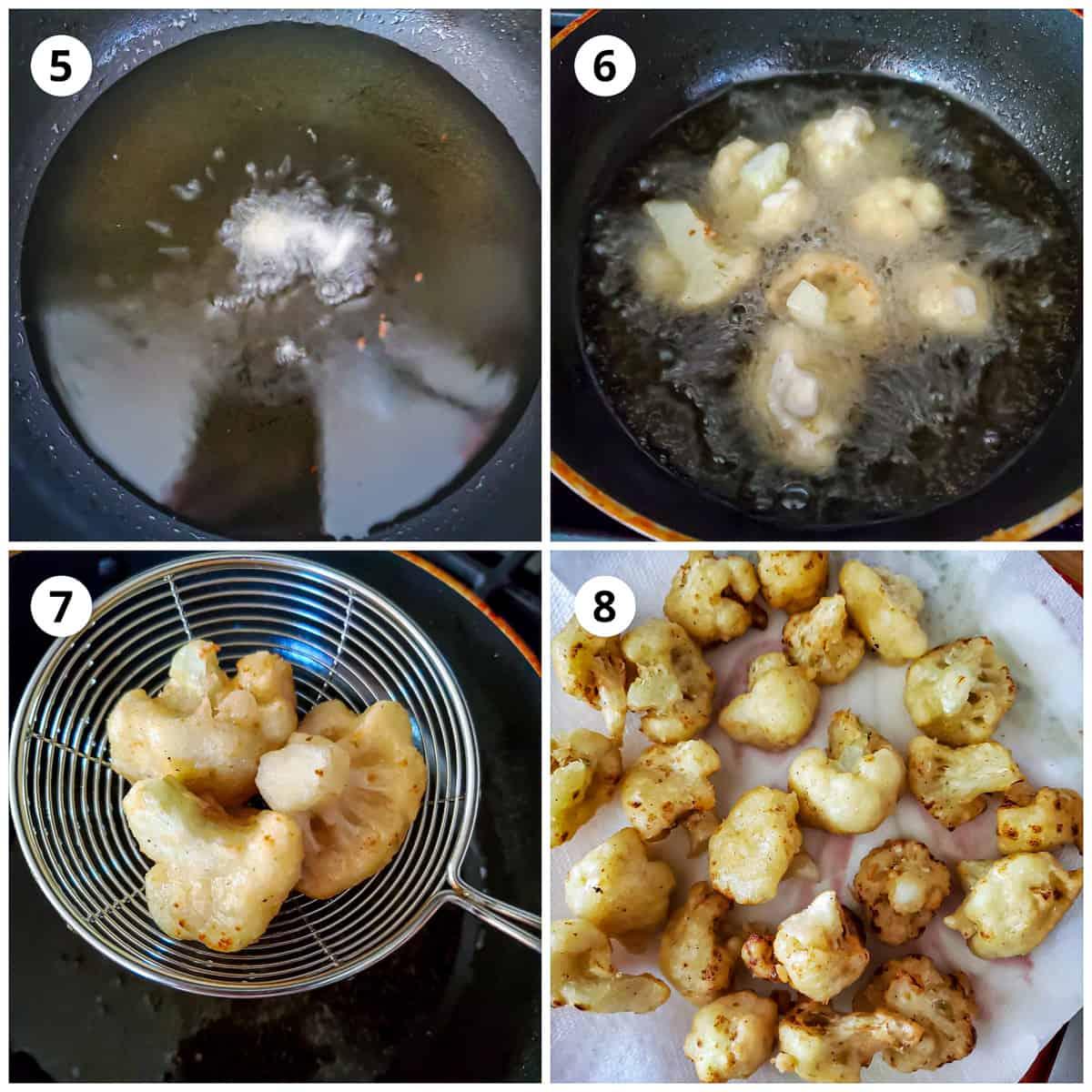 deep frying batter coated cauliflower florets