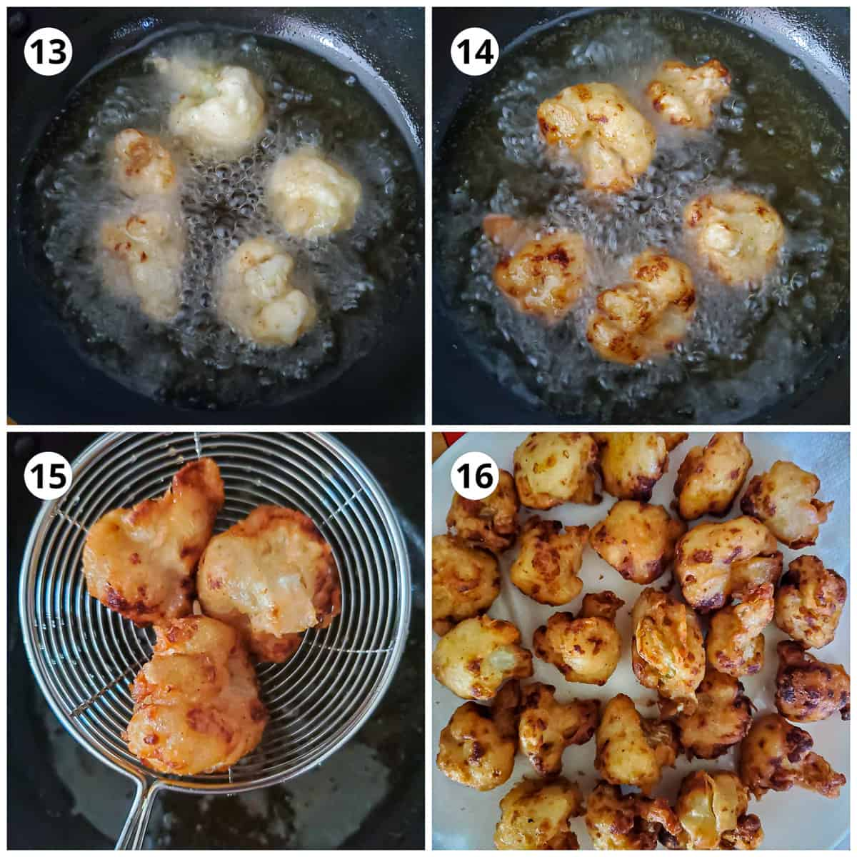 frying the cauliflowers second time to make them golden and crispy.