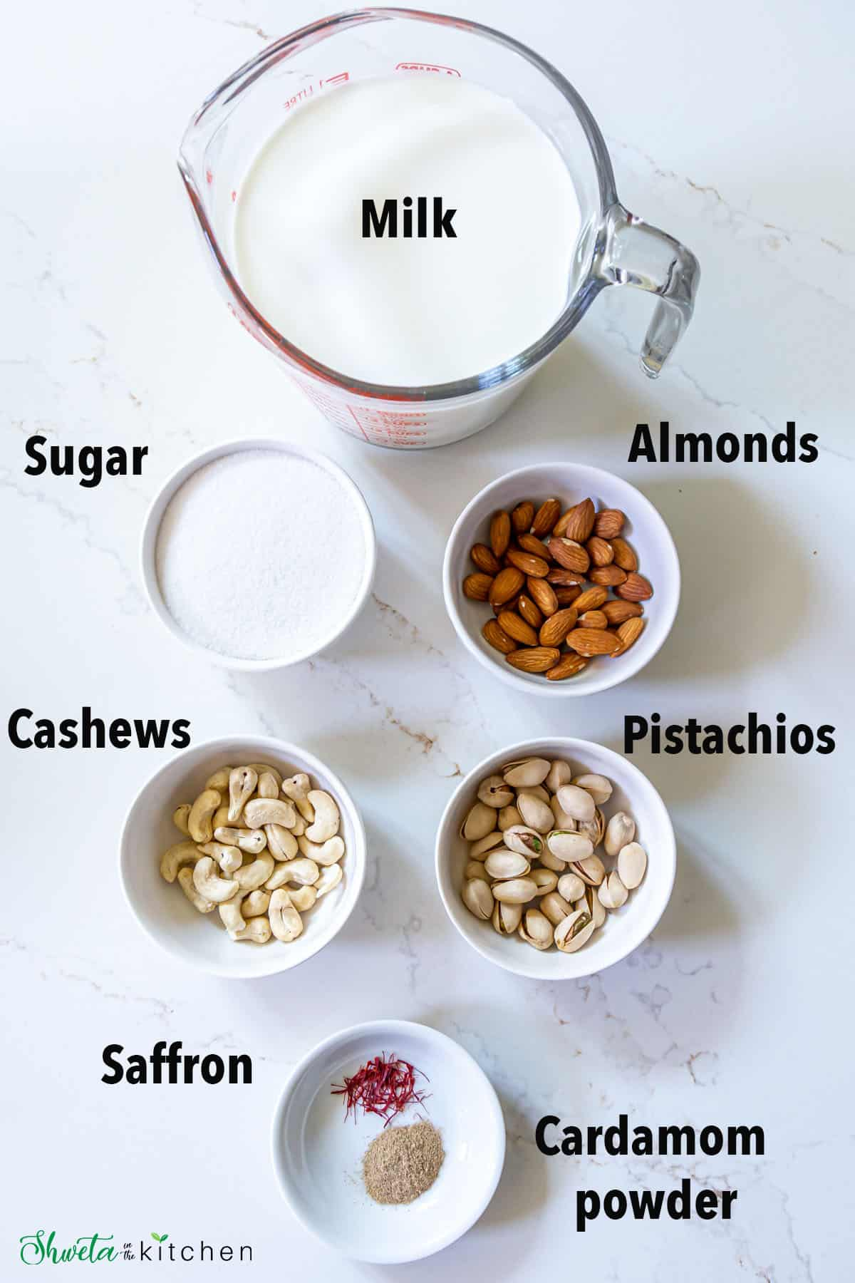 Masala milk ingredients laid out in bowls