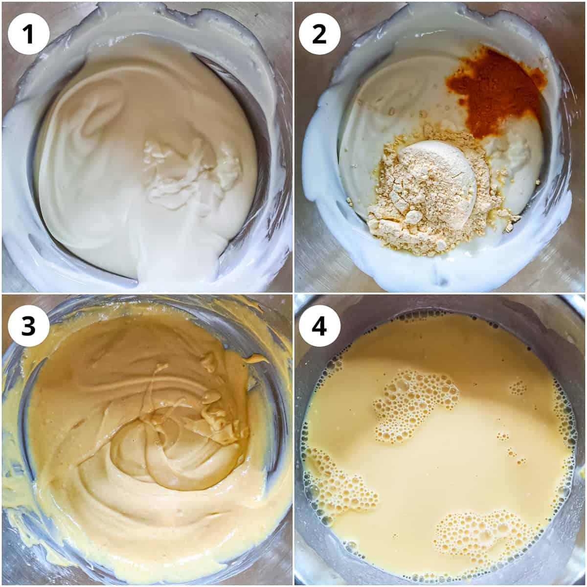 In a bowl, mixing yogurt, gram flour turmeric, salt. water to make batter