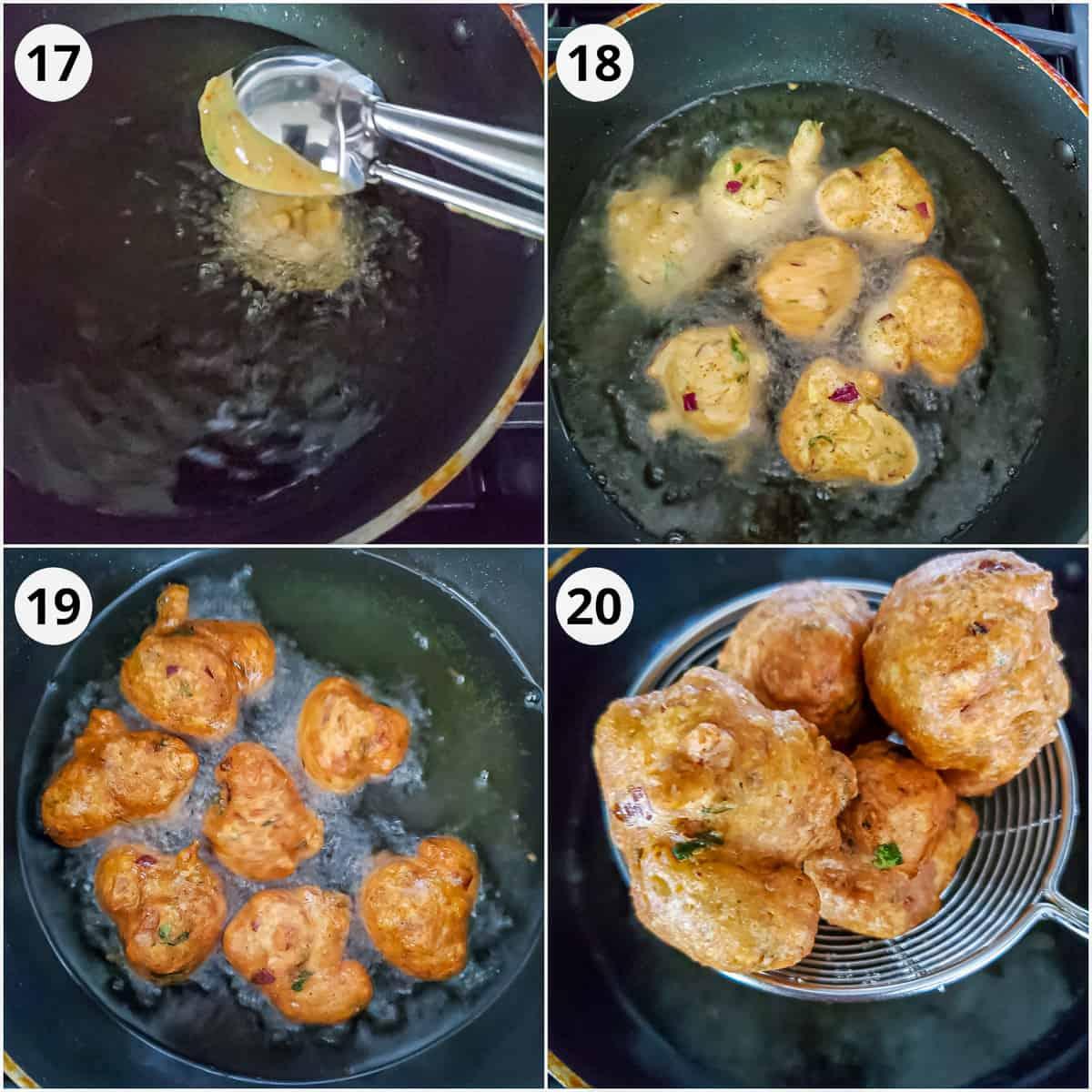 Frying the pakora for kadhi until golden brown