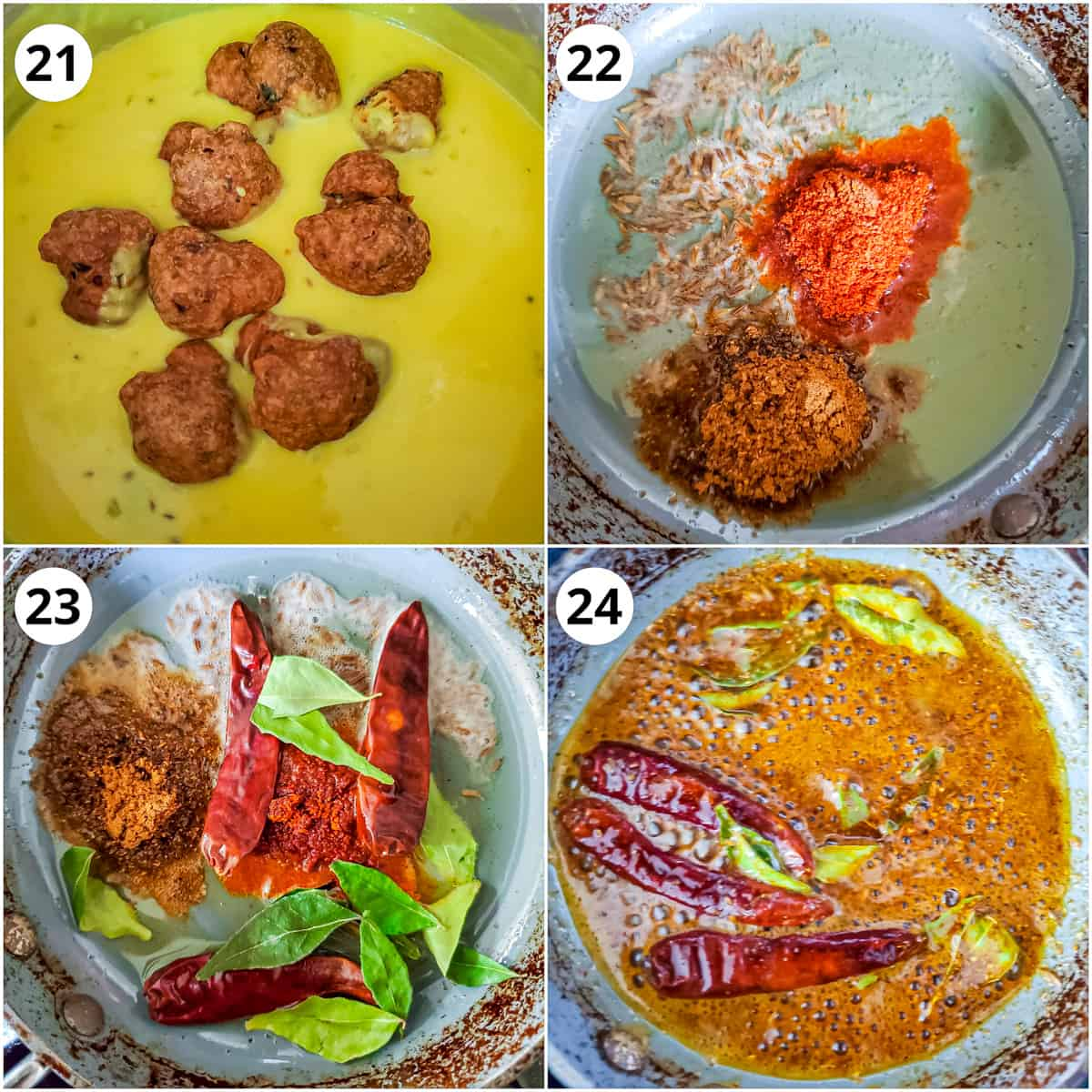 Adding pakora to kadhi and making the tadka