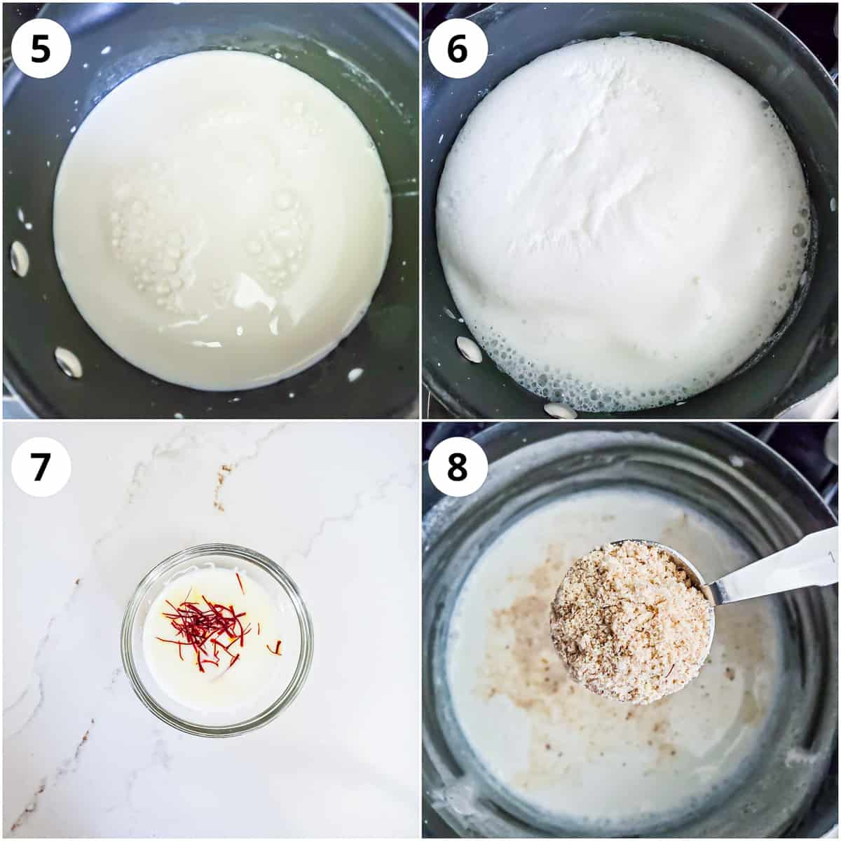 Steps showing boiling milk, soaking saffron and adding powdered nuts to milk