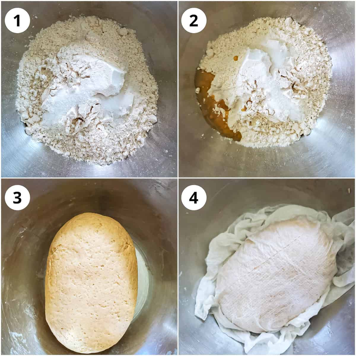 Making dough for poori and covering it to rest