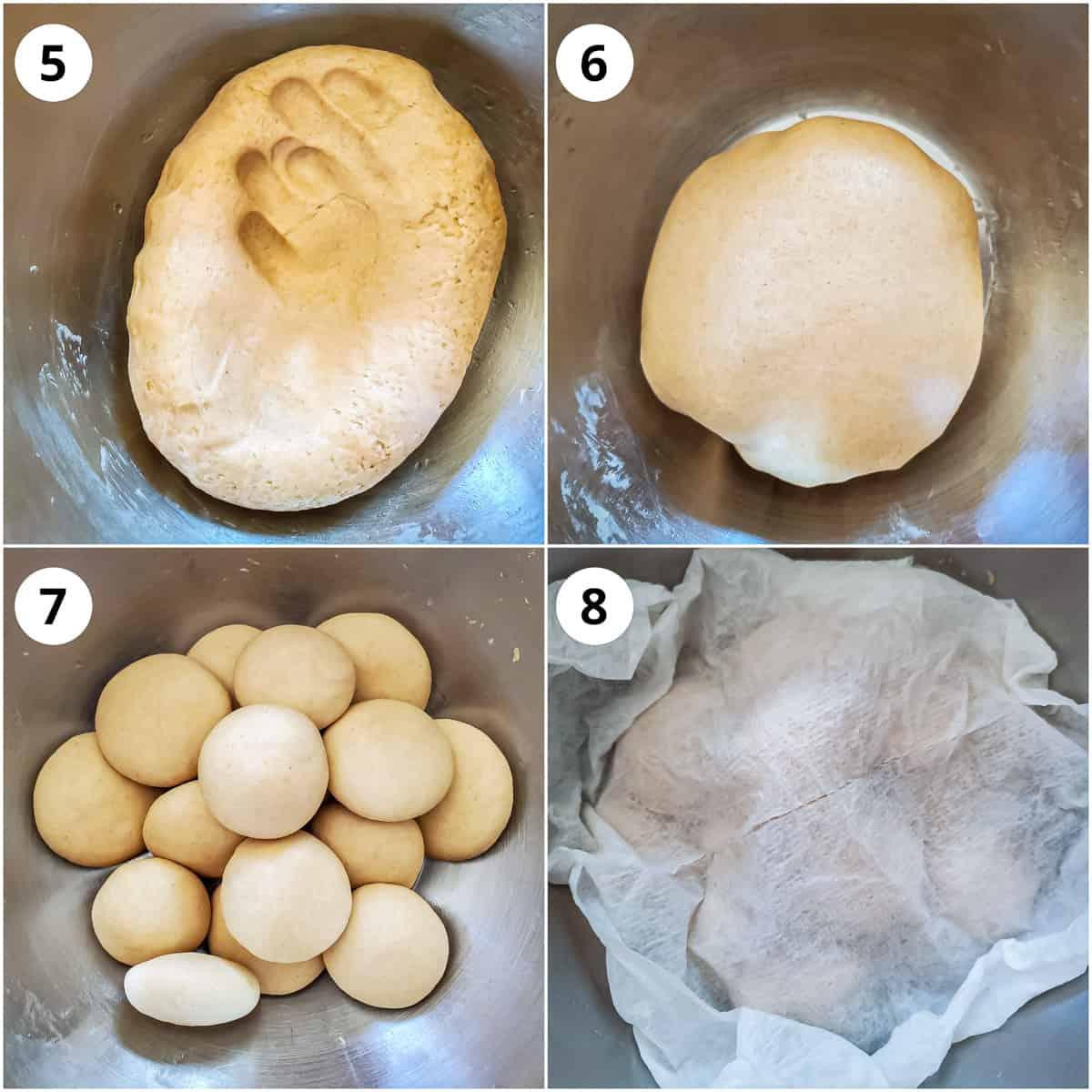 Kneading poori dough again and making balls