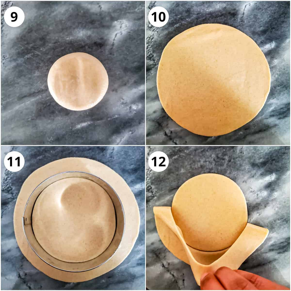 rolling poori dough into a circle and then cutting it round for even shape