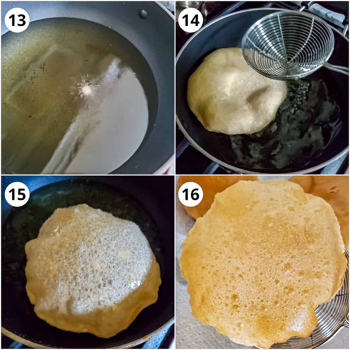 steps to show the poori frying process to get fluffy one