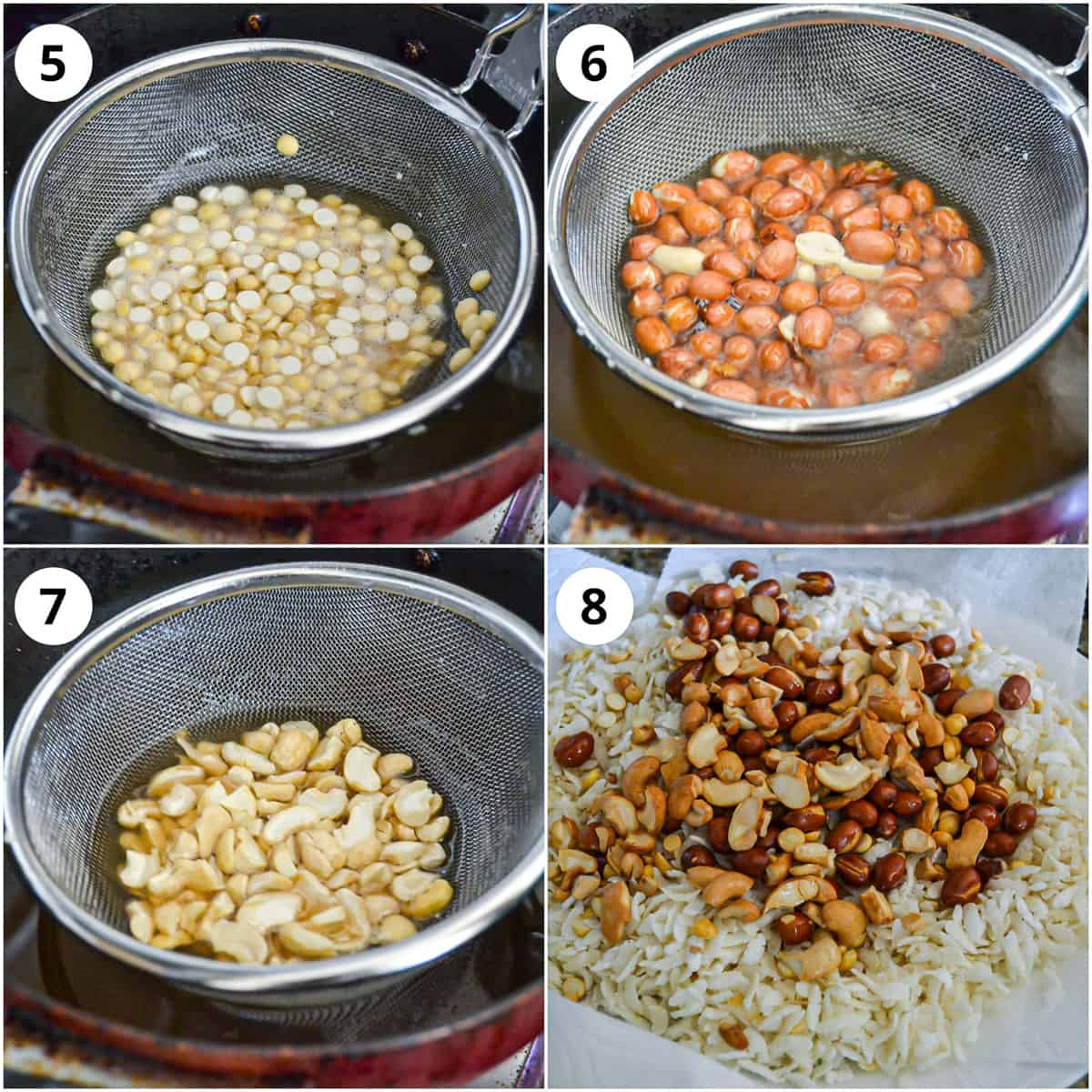 Steps showing frying cashews, peanuts and dalia