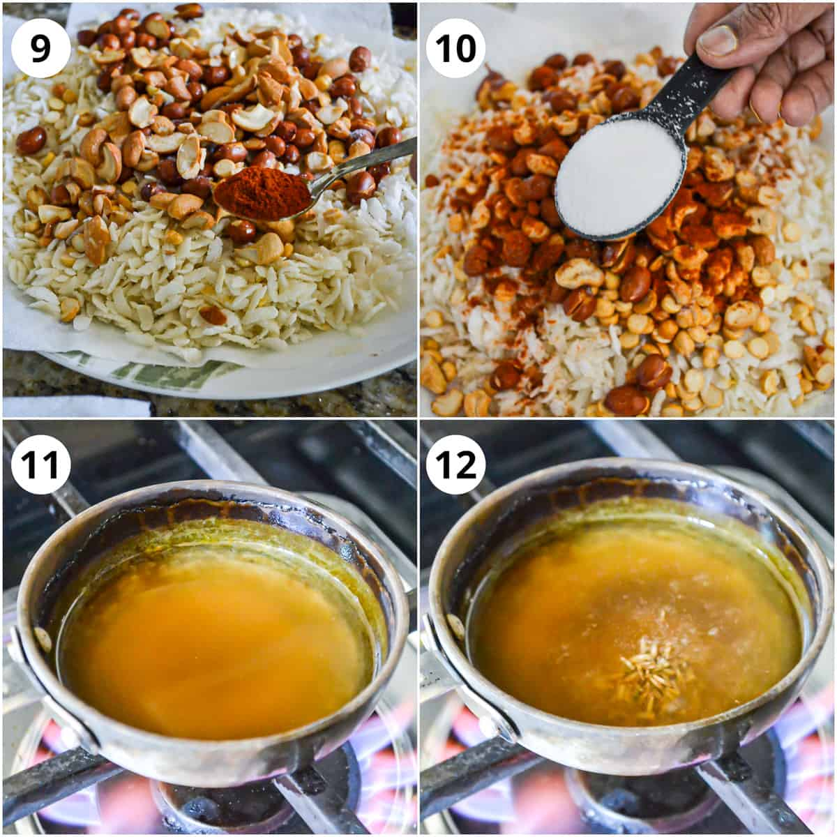 Steps for mixing sugar and red chilli with poha and doing the tadka