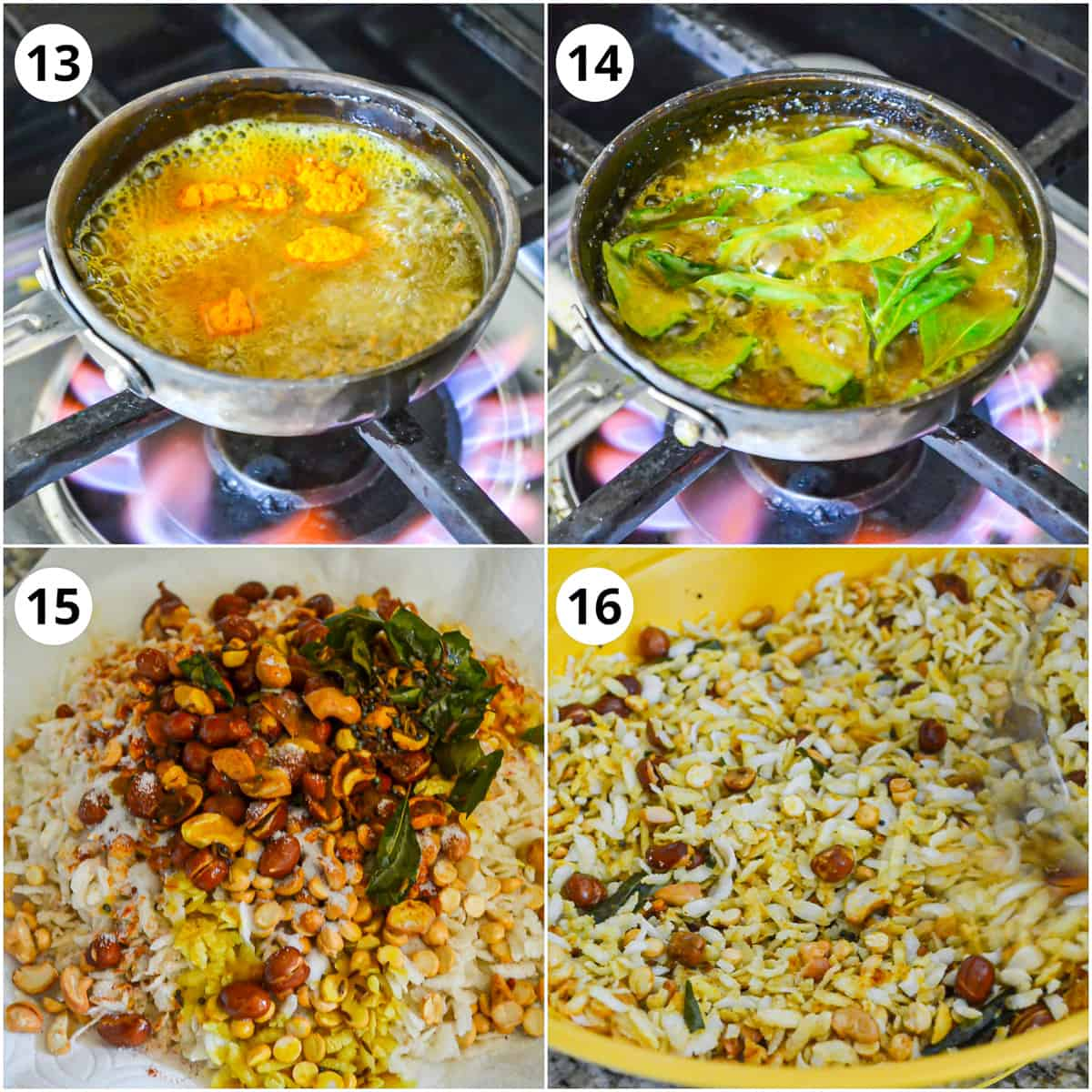 Steps showing adding turmeric, curry leaves to tadka and mixing it with poha