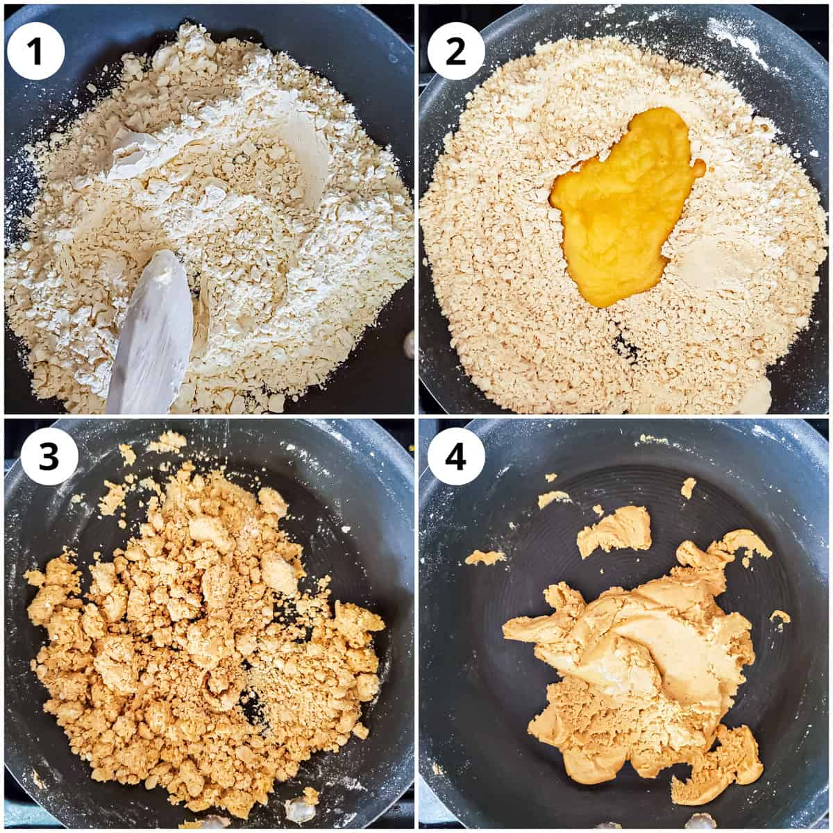 Steps for roasting besan (gram flour) with ghee