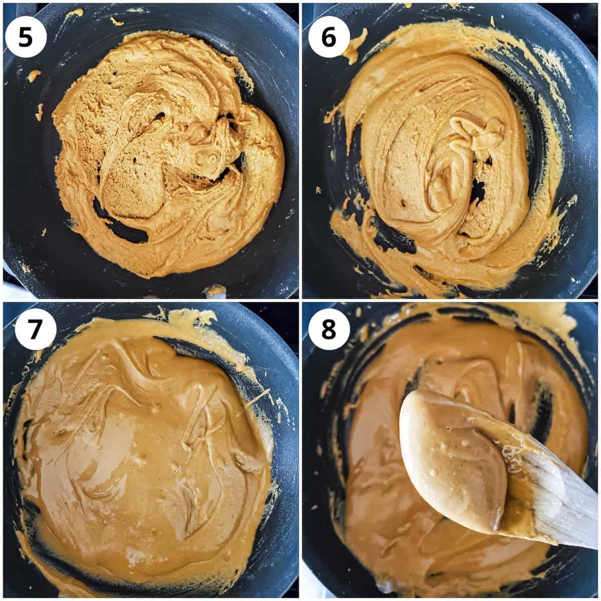 Steps for cooking besan (gram flour until light and fluffy)