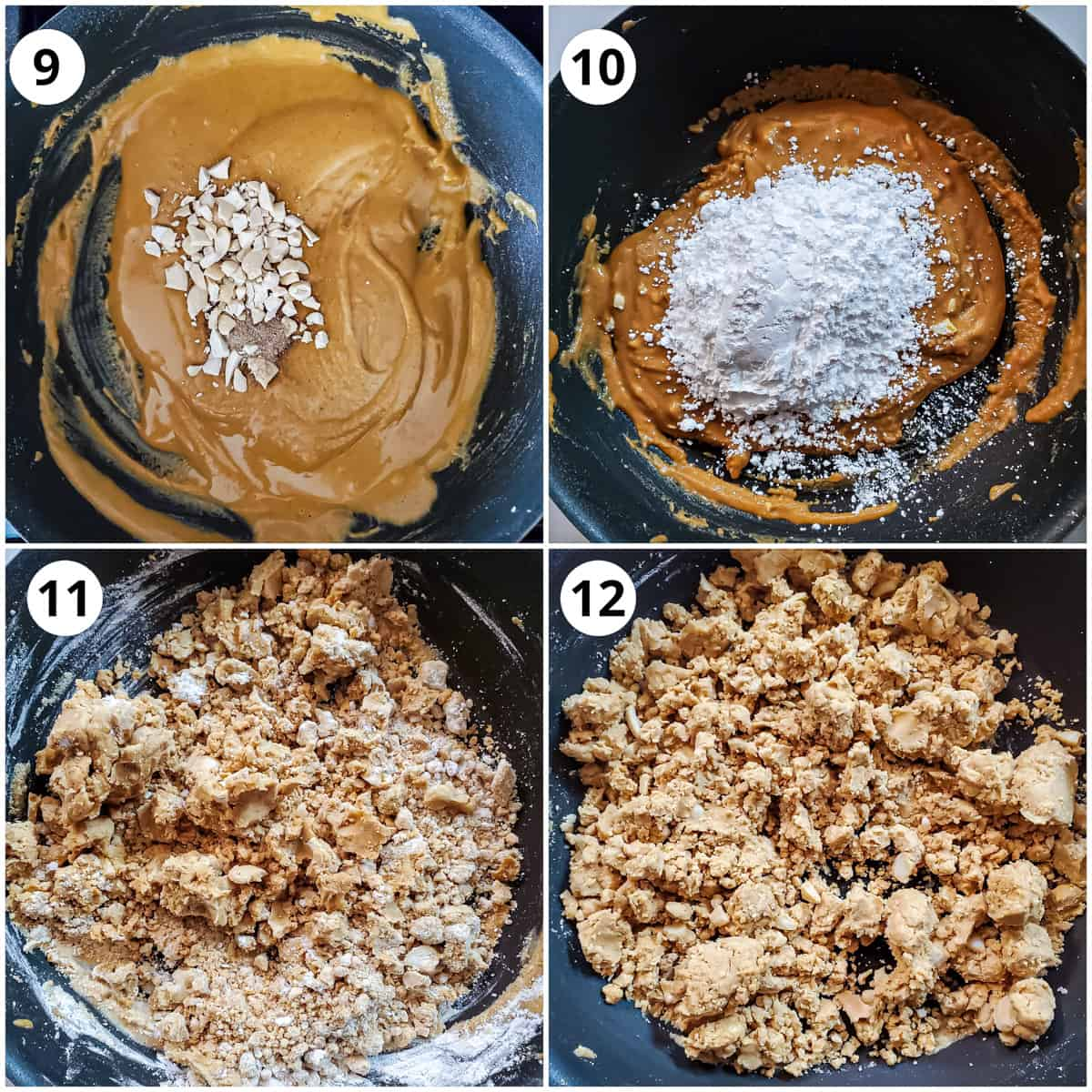 steps for mixing cashews, cardamom powder and sugar