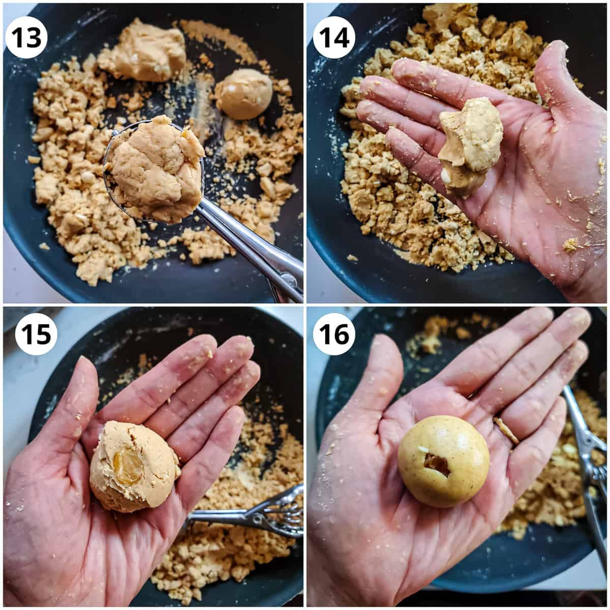 Steps for rolling the Besan ladoos