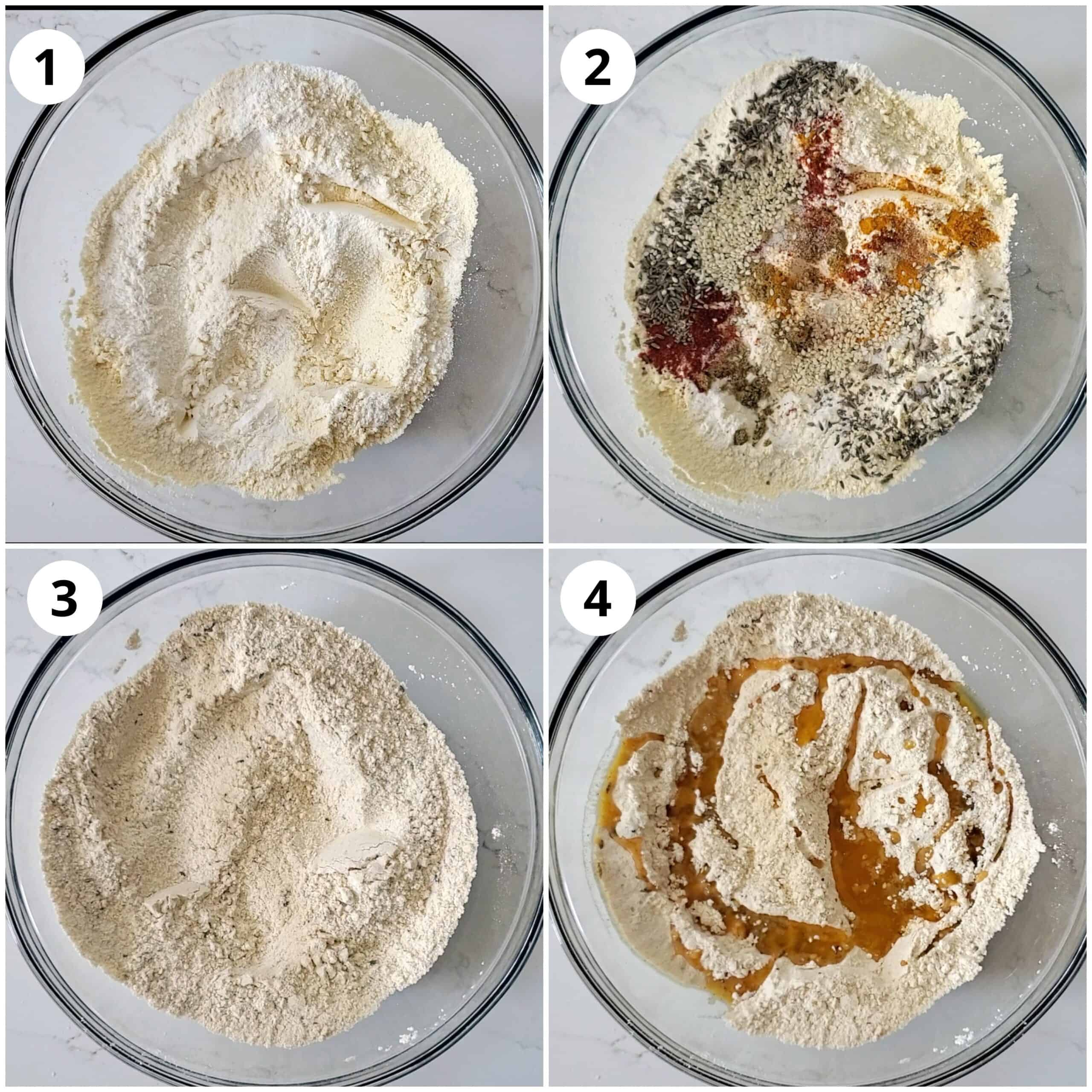Steps showing mxing flour, spices and seeds in a bowl