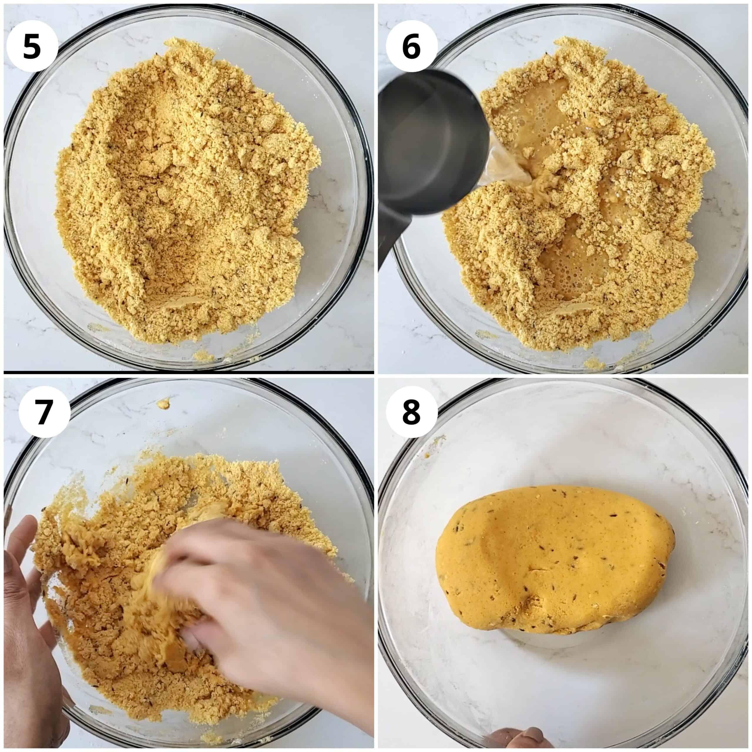 adding water and making chakli dough