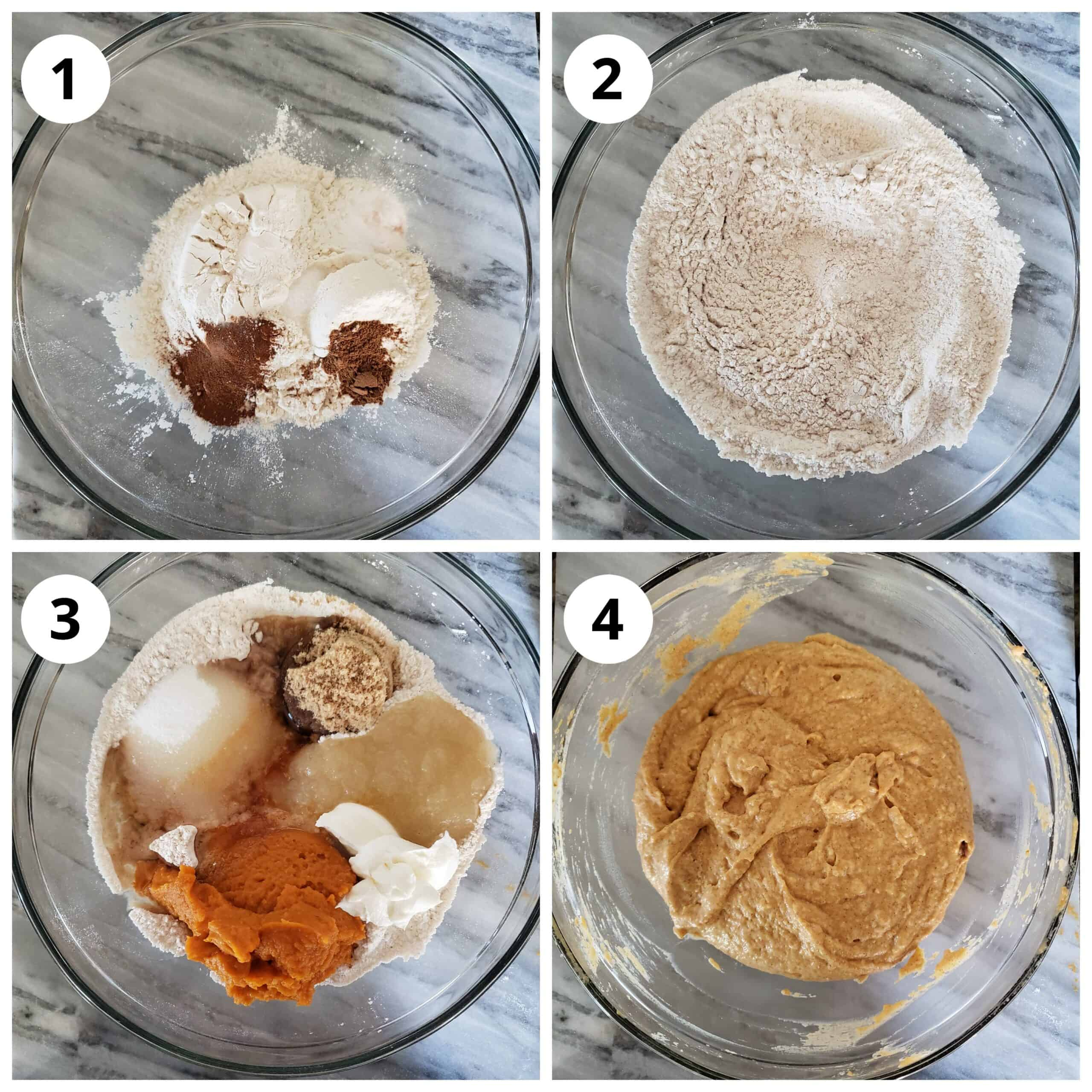 Steps for adding the dry and wet ingredients to flour for pumpkin coffee cake