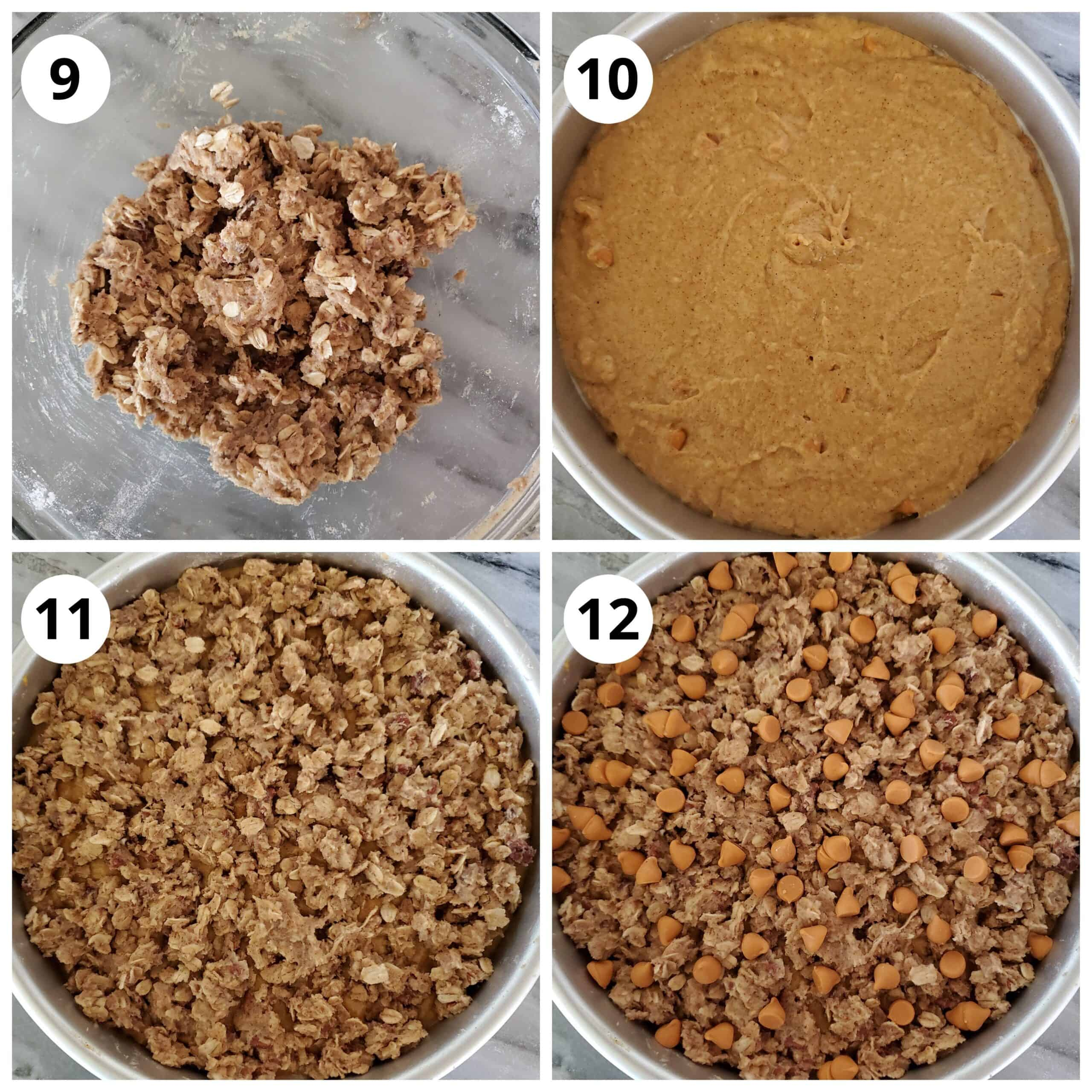 Steps for adding the cake batter to pan and topping with streusel