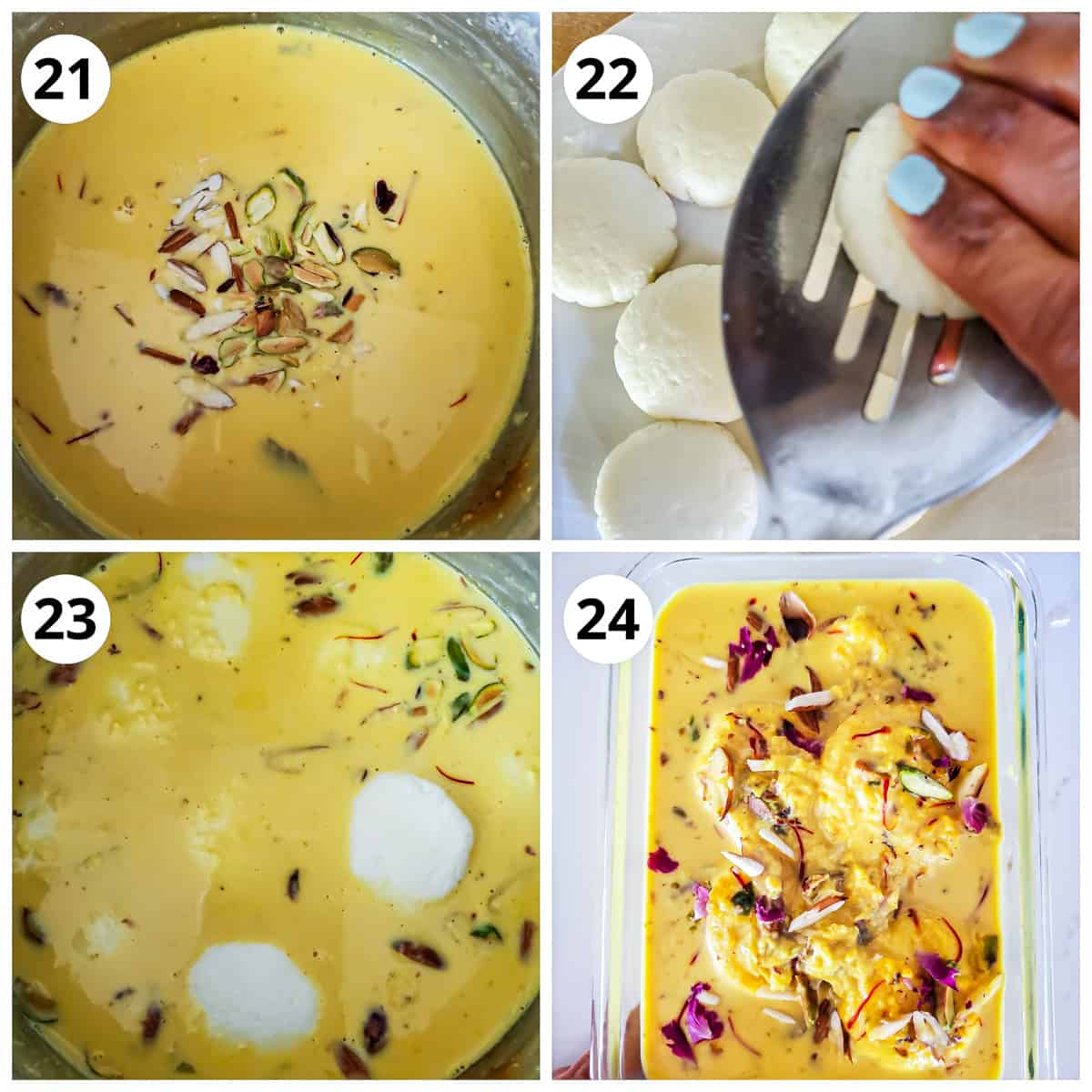 Adding sugar soaked rasmalai to rabri