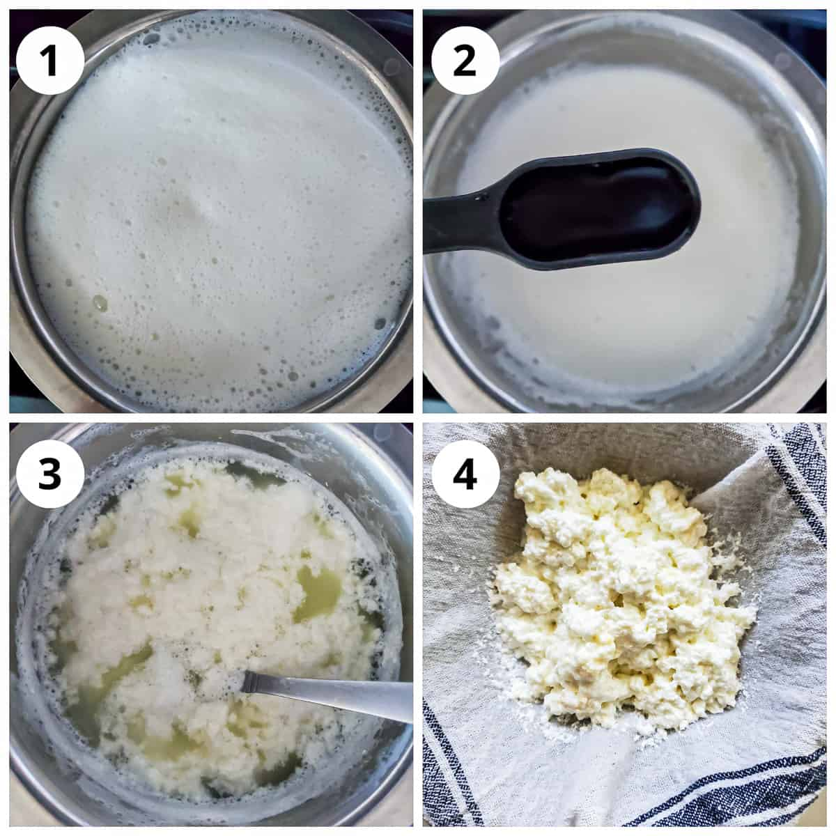 Steps for boiling milk, adding vinegar to curdle milk