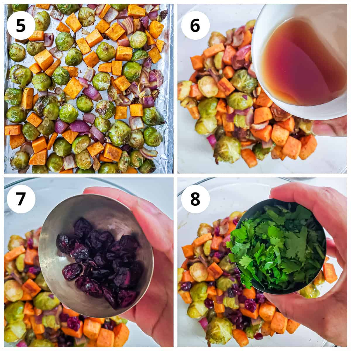Steps for adding maple syrup, cranberries and cilantro to roasted Brussels sprouts and sweet potato.