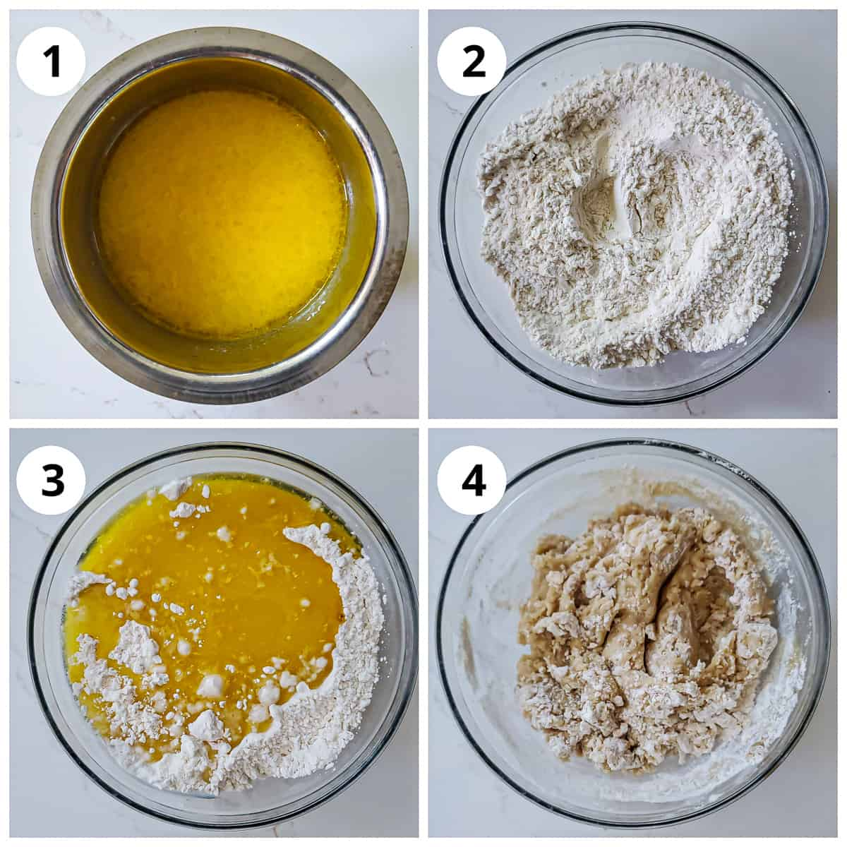 Steps for making shankarpali dough with ghee, milk, sugar and all purpose flour