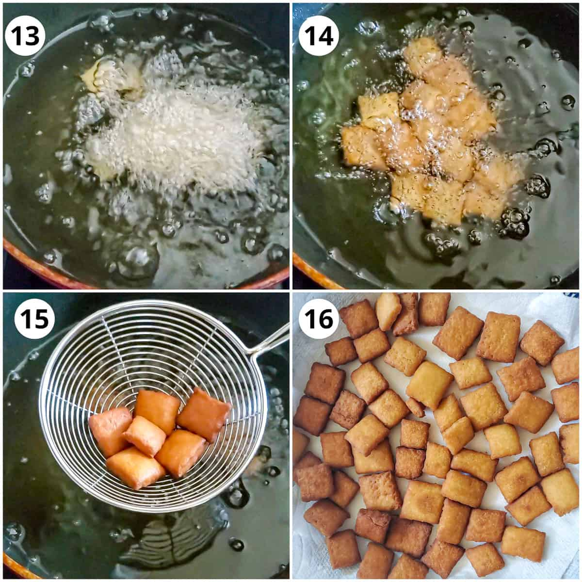 Steps for frying shankarpali in oil and draining on tissue paper lined plate