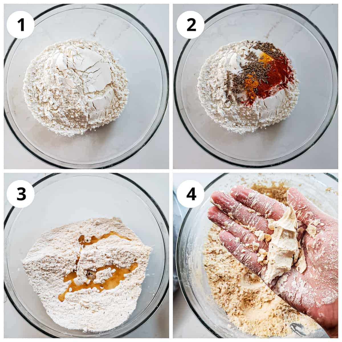 Steps to mix the flour, spices and ghee to make spicy shankarpali