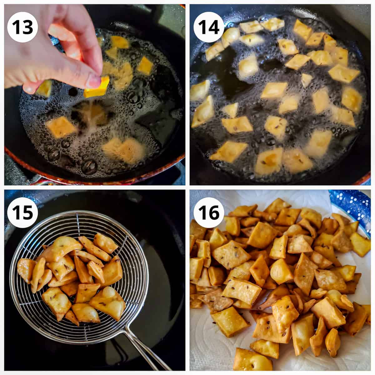 steps for frying spicy shankarpali