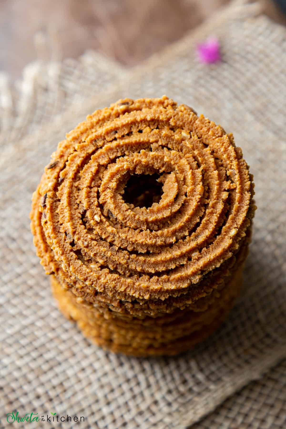 top view of stack of chakli